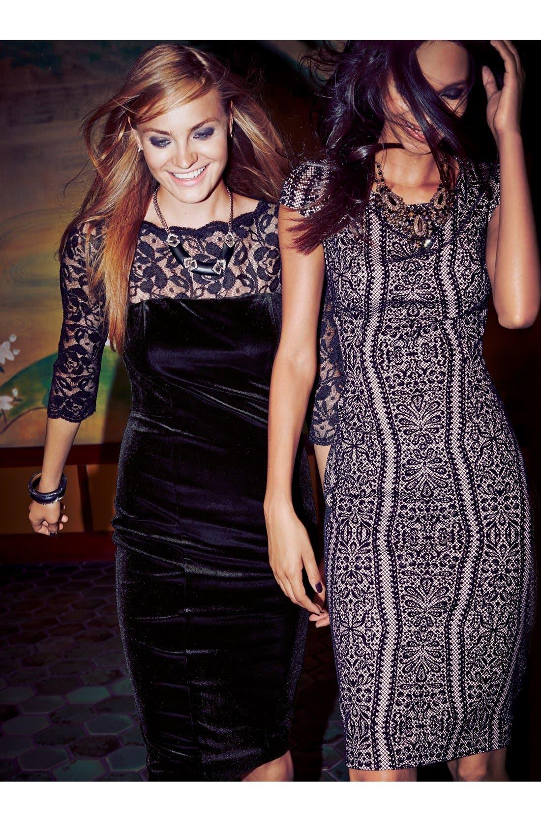 Lace & Velvet Sheath Dress,                             Alternate thumbnail 10, color,                             BLACK