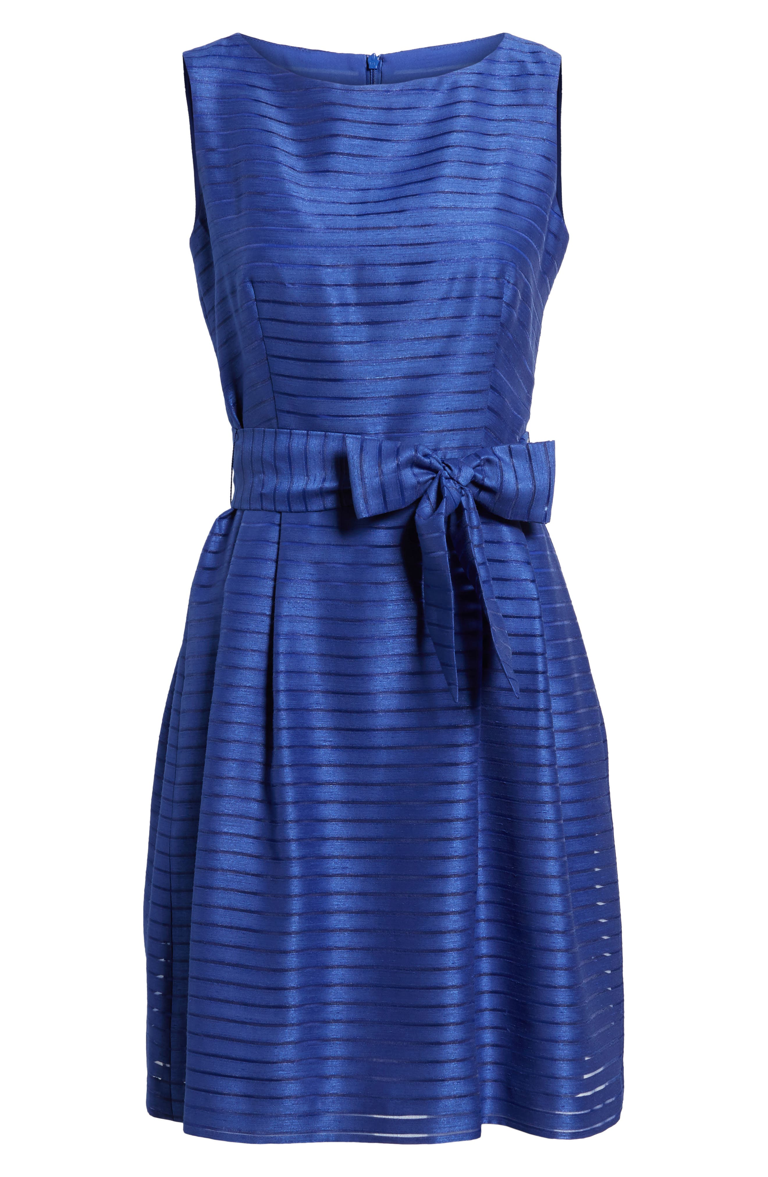 ANNE KLEIN,                             Shadow Stripe Fit & Flare Dress,                             Alternate thumbnail 6, color,                             430
