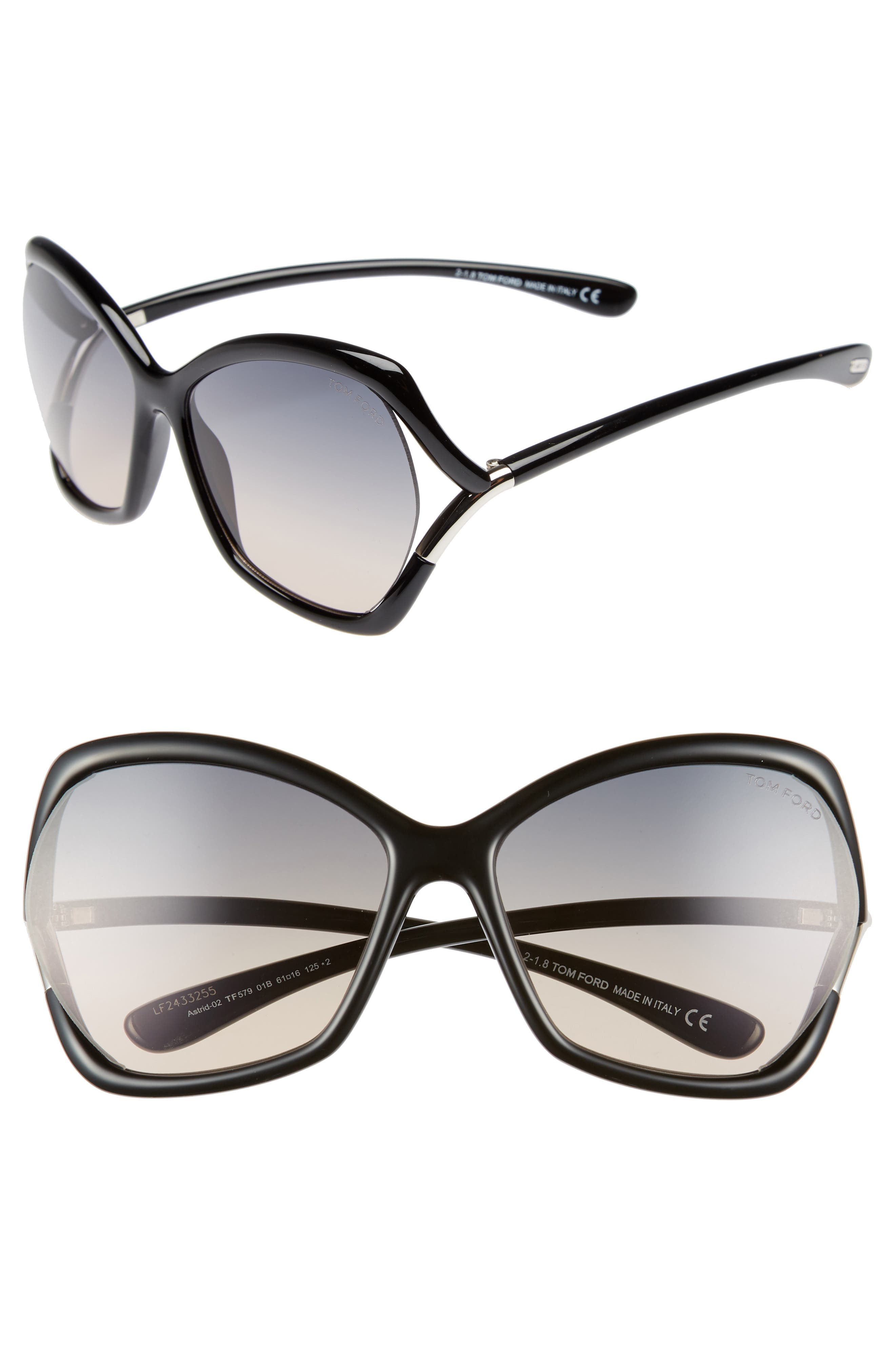 Tom Ford Astrid 61Mm Geometric Sunglasses - Shiny Black/ Gradient Smoke