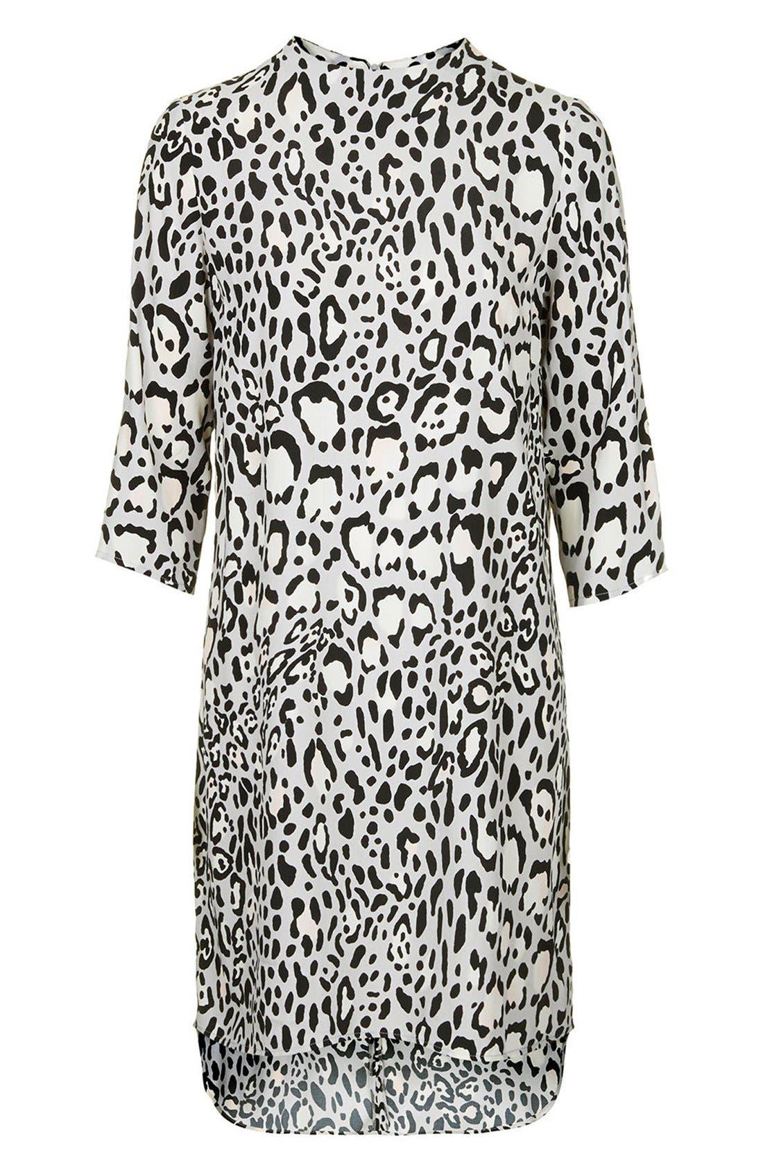 TOPSHOP,                             Monochrome High Neck Dress,                             Alternate thumbnail 4, color,                             001