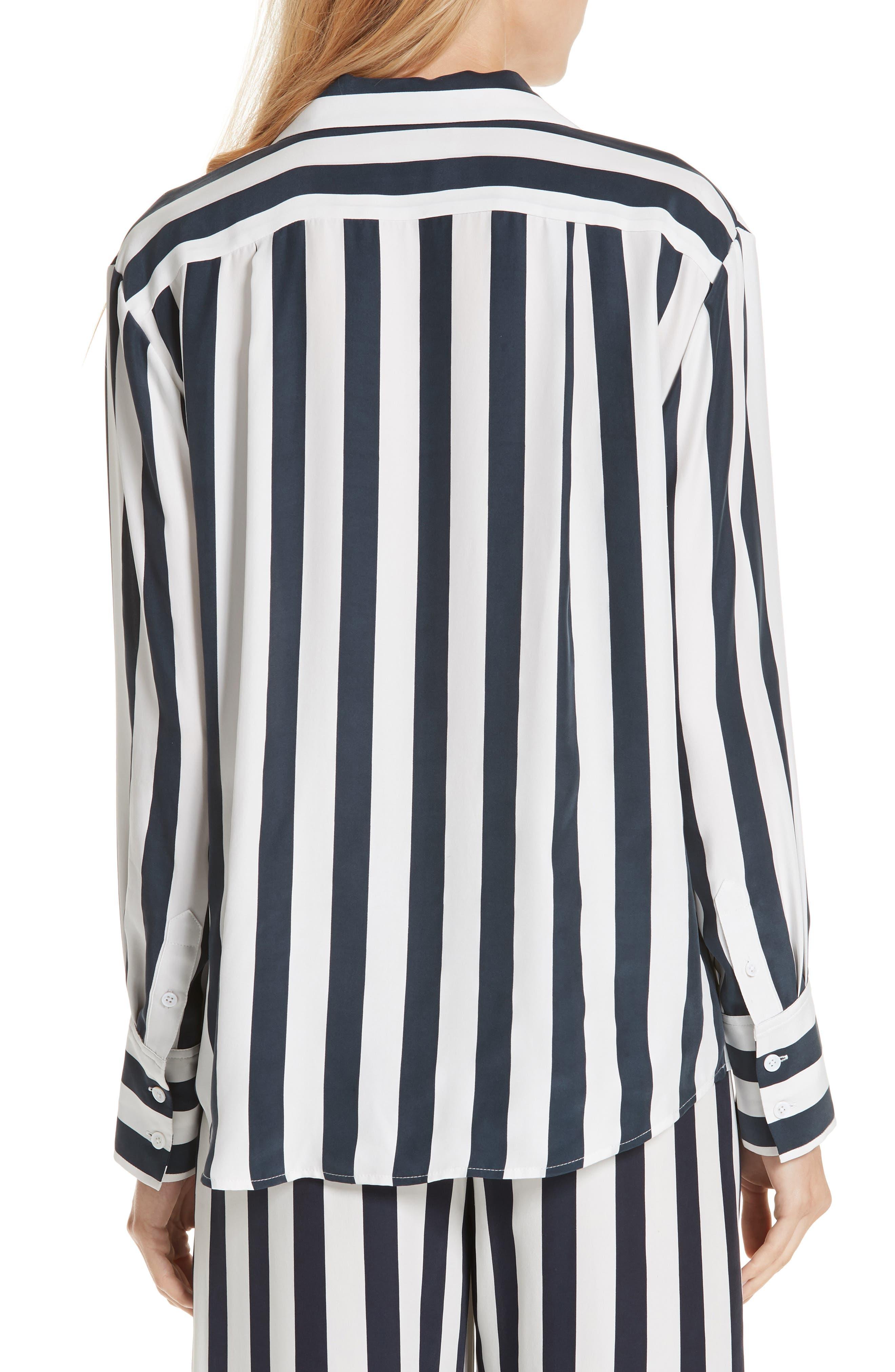 Stripe Silk Shirt,                             Alternate thumbnail 2, color,                             NAVY MULTI