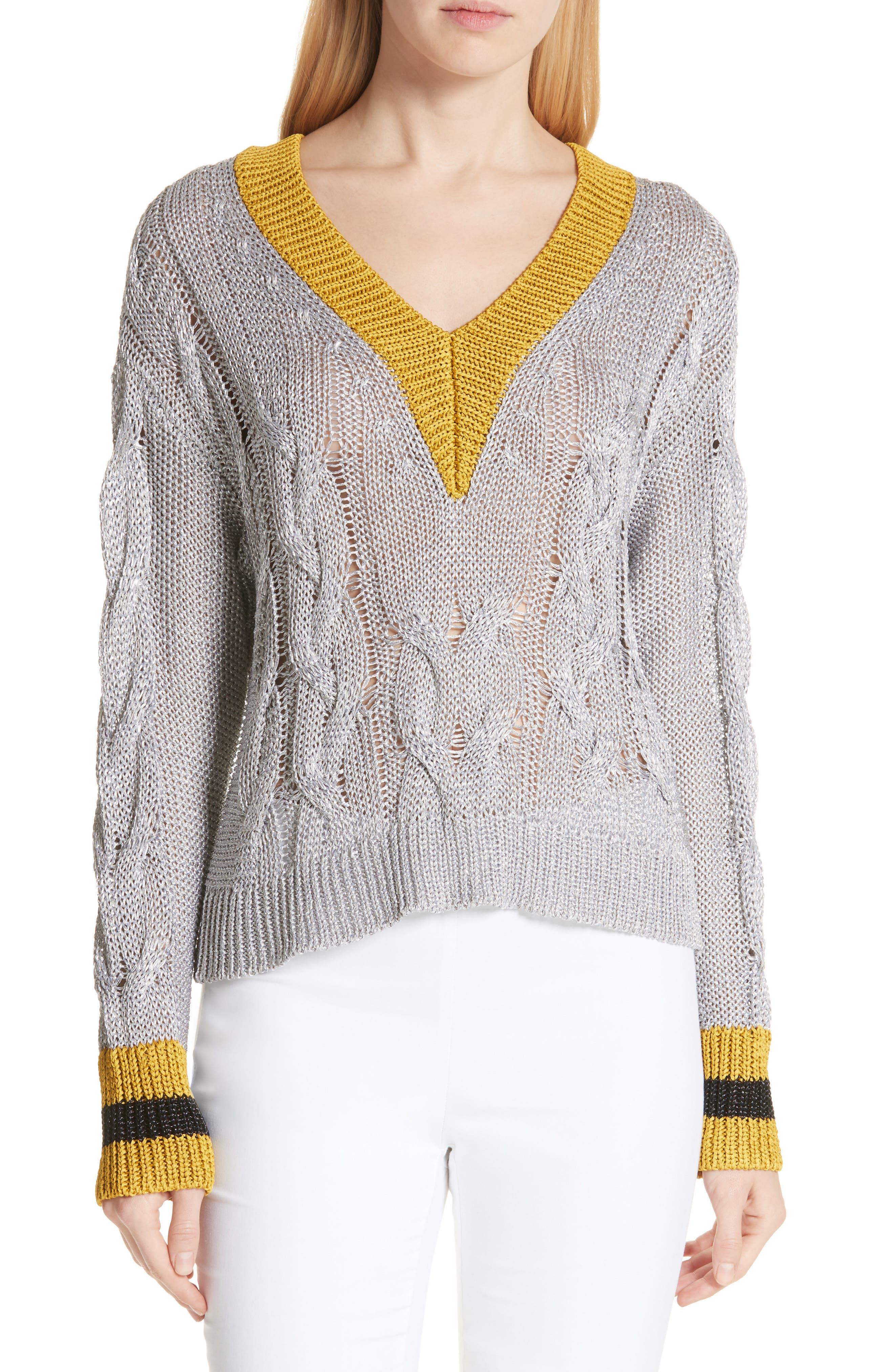 Emma Cable Knit Sweater,                         Main,                         color, 023