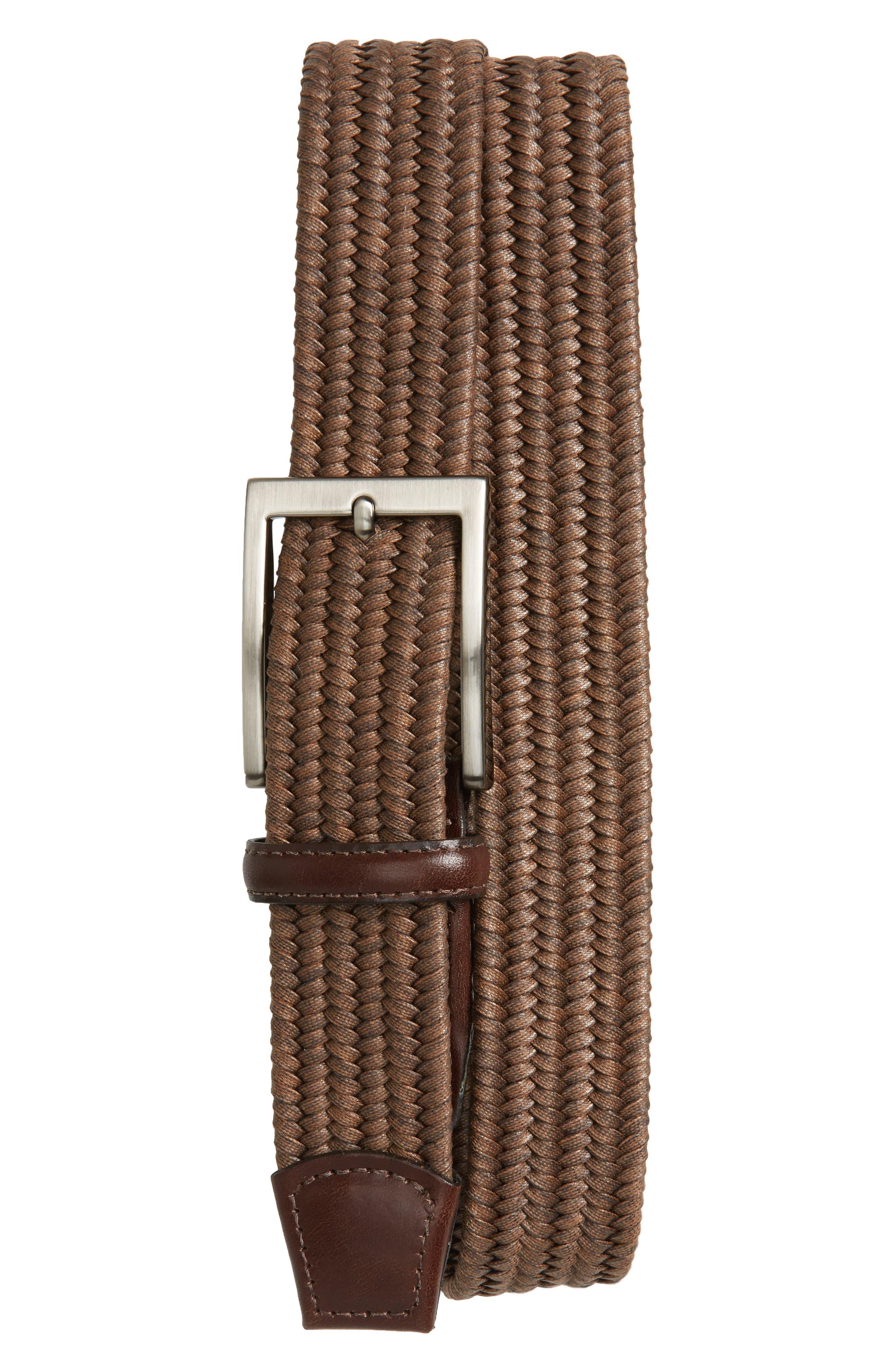 Torino Belts Braided Cotton Belt, Cognac