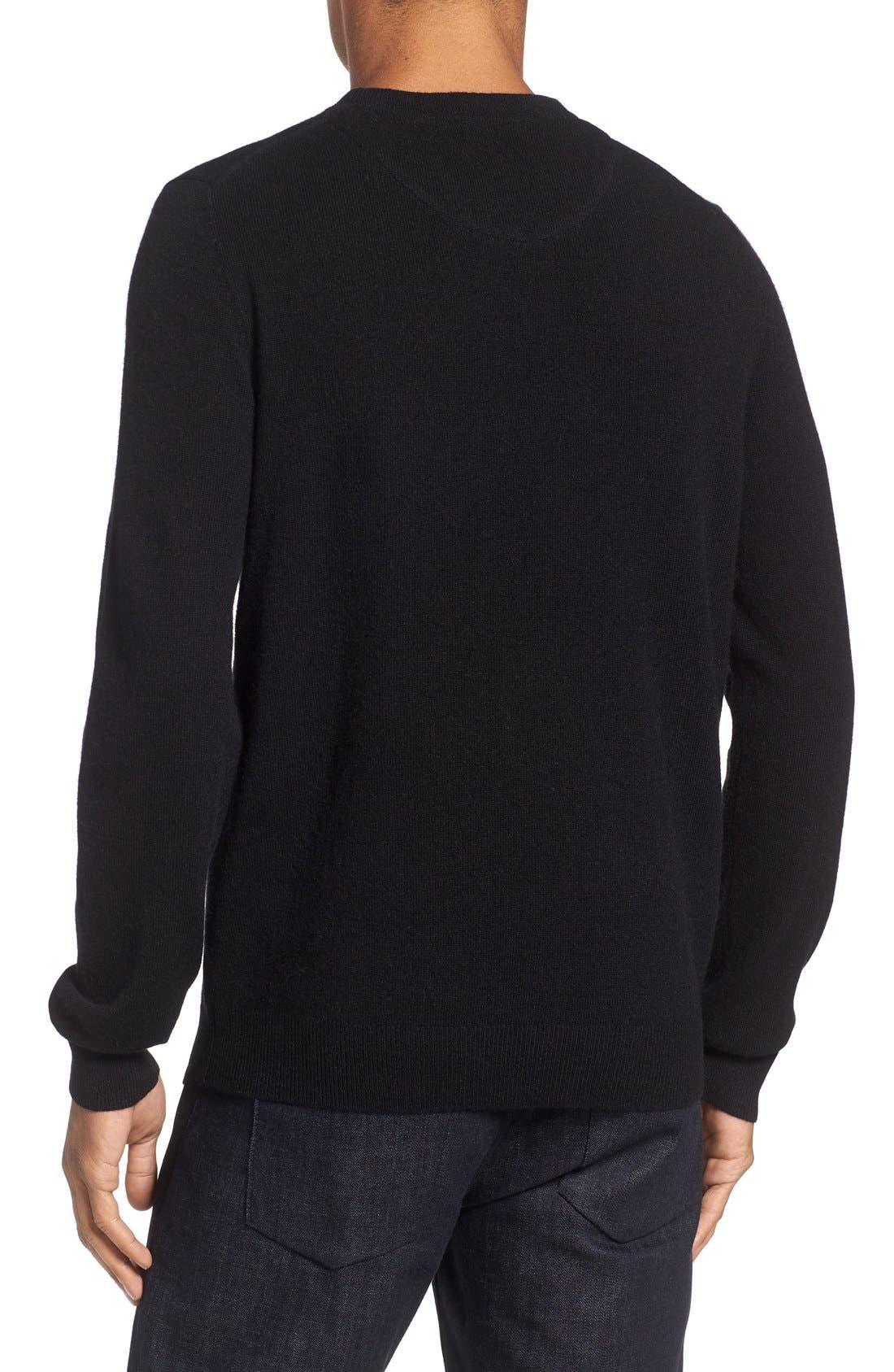 Cashmere Crewneck Sweater,                             Alternate thumbnail 2, color,                             BLACK CAVIAR