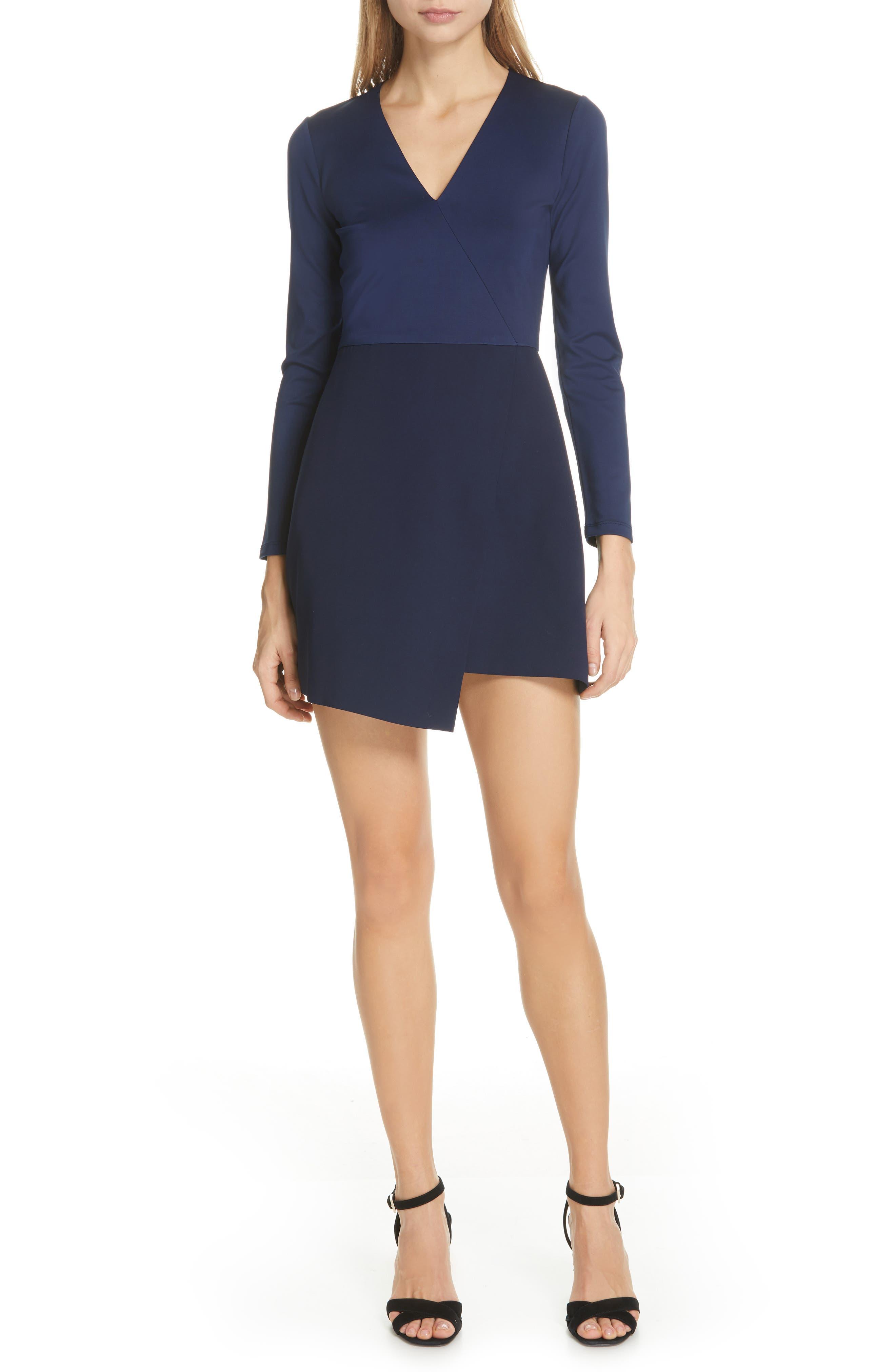 Alice + Olivia Evette Asymmetrical Minidress, Blue
