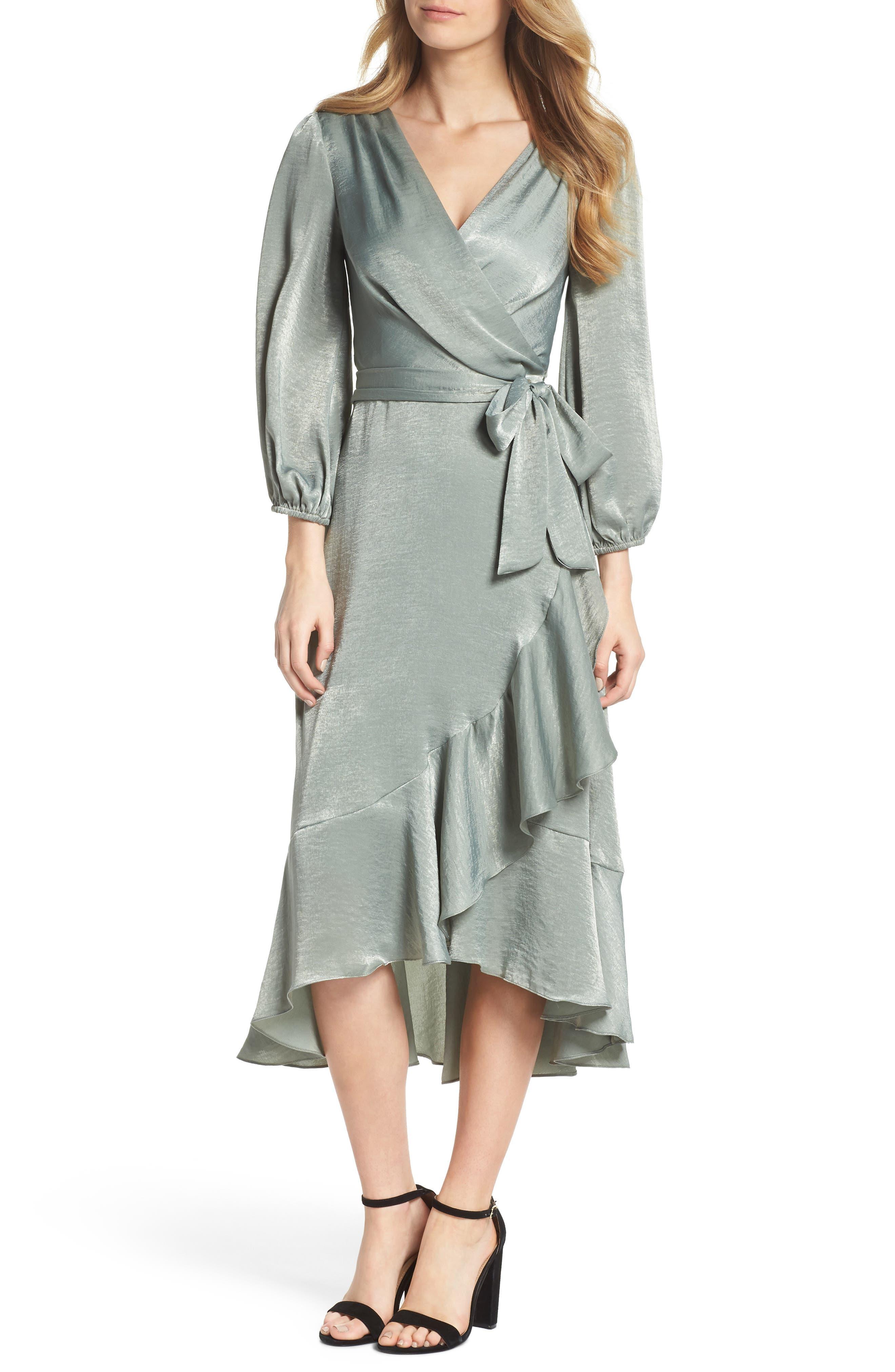 Jennifer Shimmer Satin Wrap Dress,                             Main thumbnail 1, color,                             321
