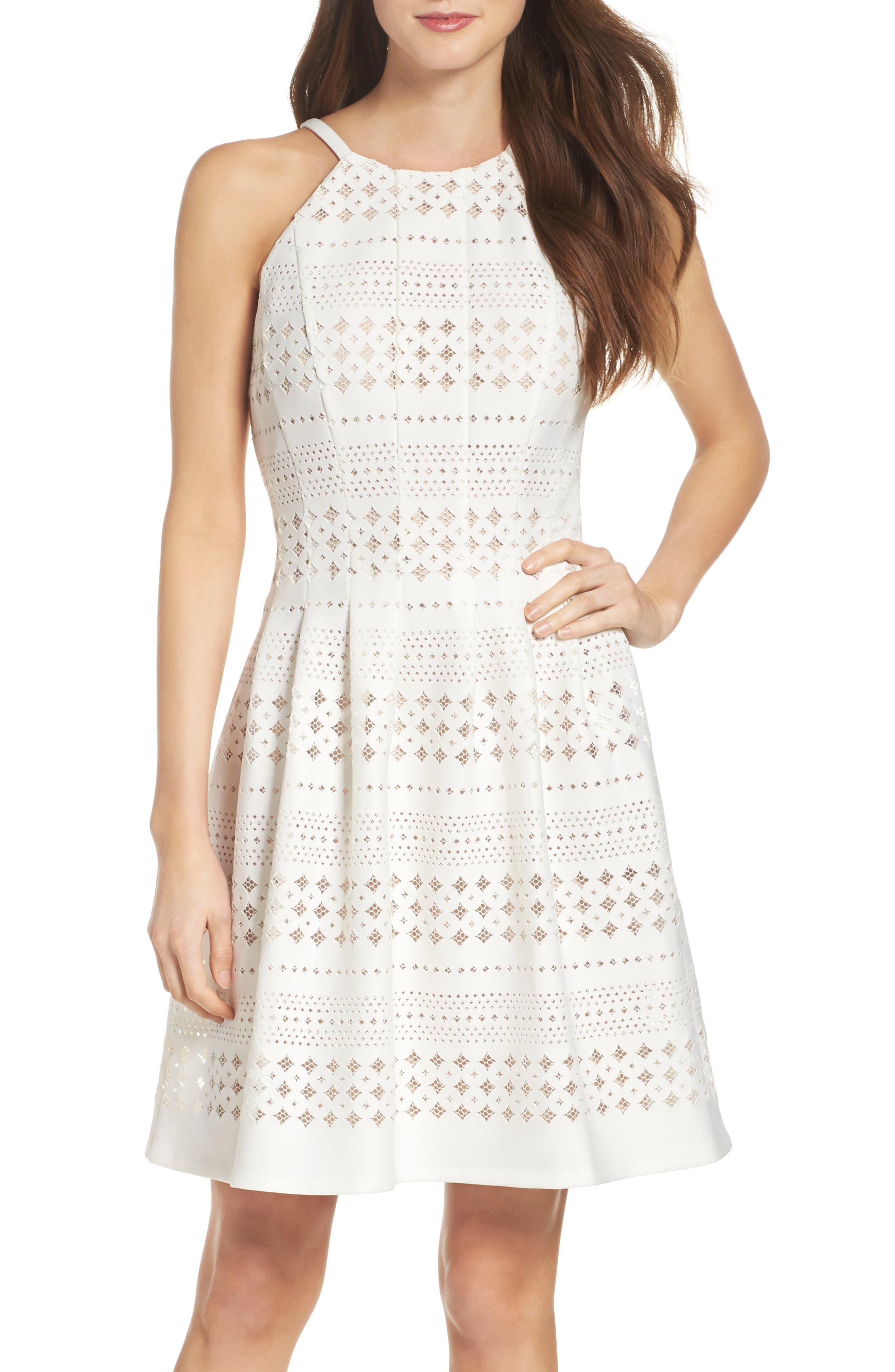 Laser Cut Fit & Flare Dress,                             Main thumbnail 1, color,                             901