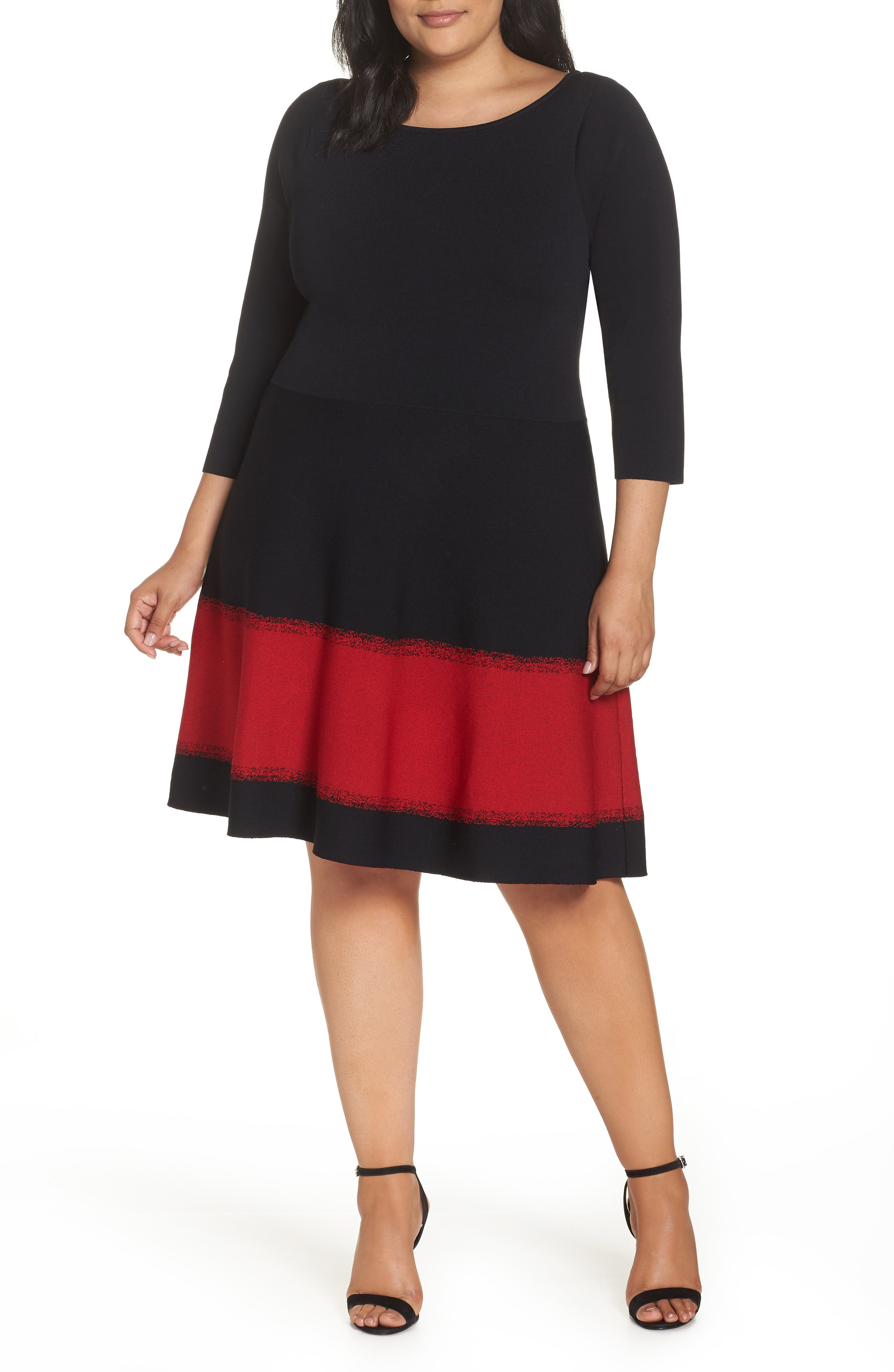Contrast Stripe Fit & Flare Dress,                         Main,                         color, BLACK