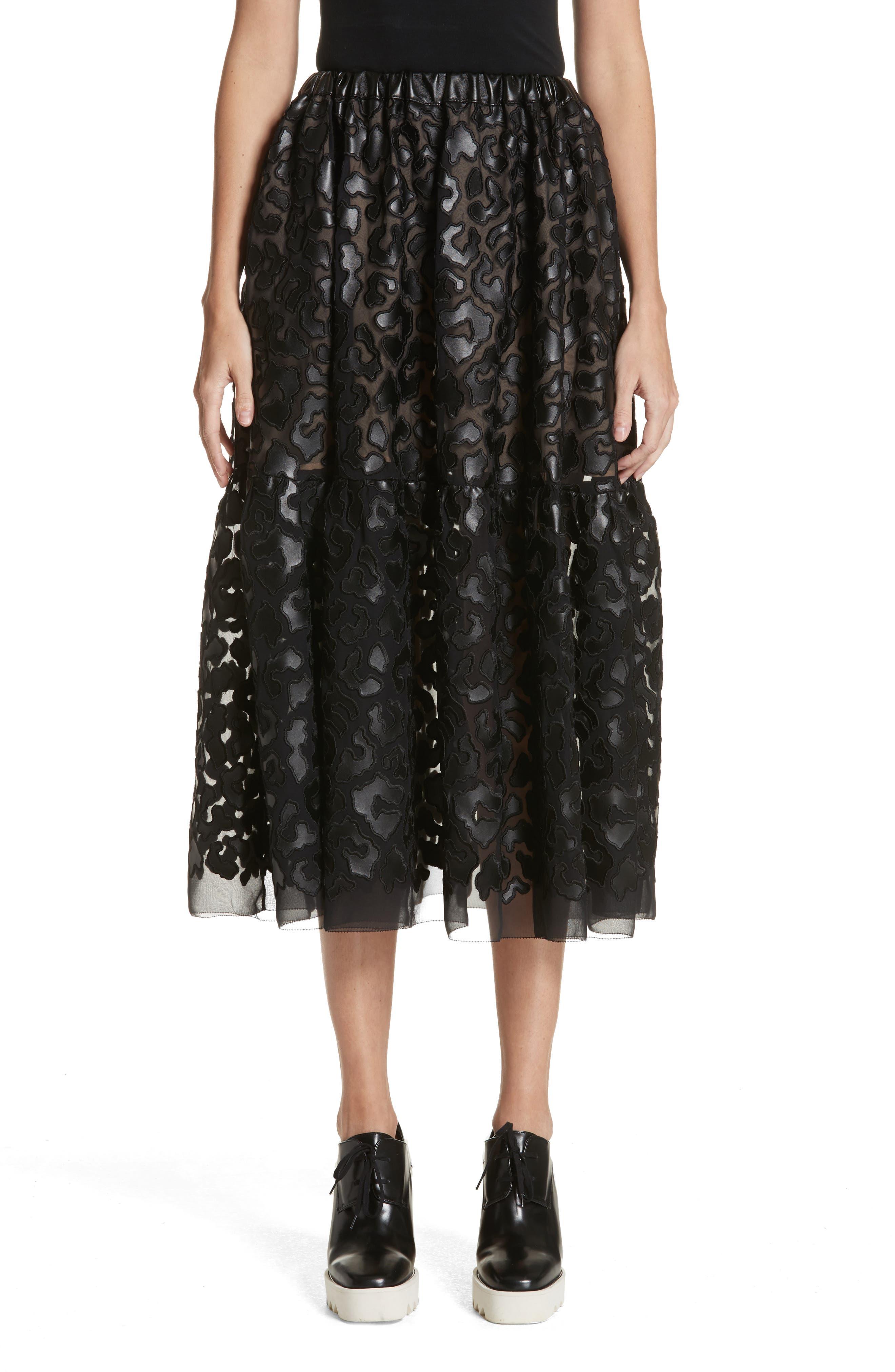 Faux Leather Leopard Print Skirt,                             Main thumbnail 1, color,