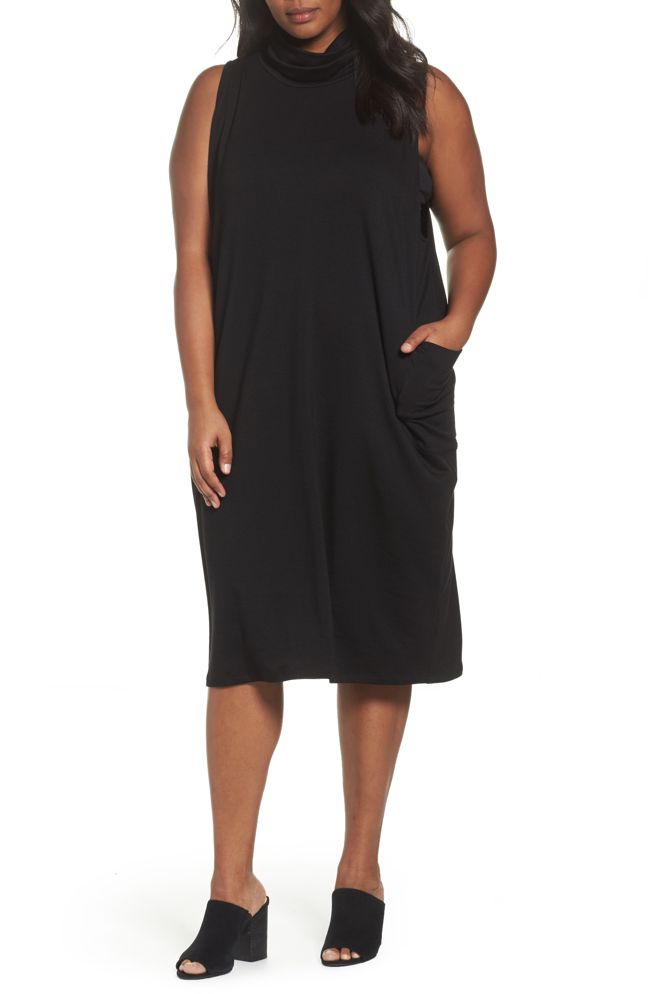 Stretch Tencel<sup>®</sup> Knit Jumper Dress,                             Main thumbnail 1, color,                             001