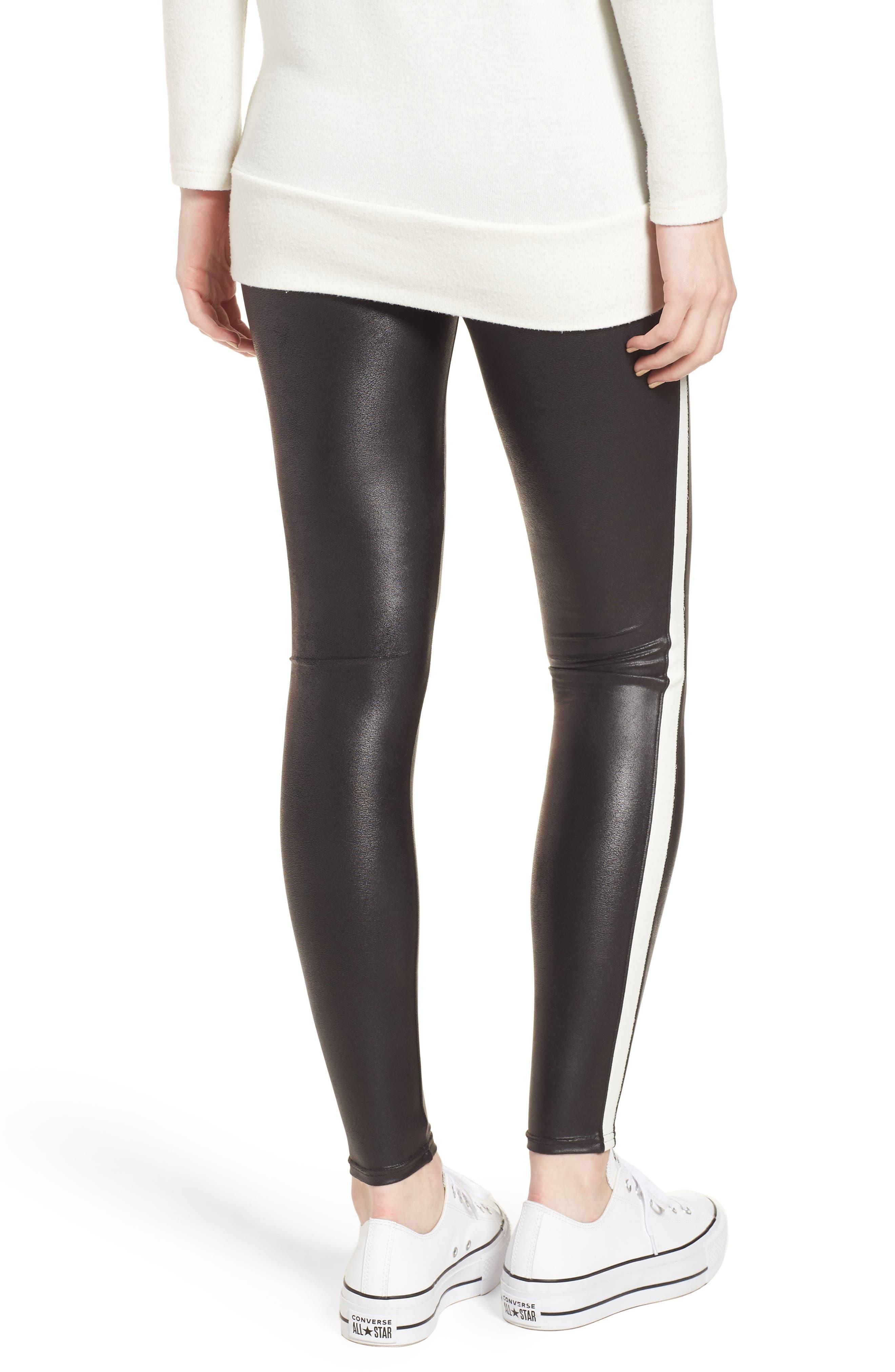 Side Stripe Faux Leather Leggings,                             Alternate thumbnail 2, color,                             VERY BLACK/ WHT