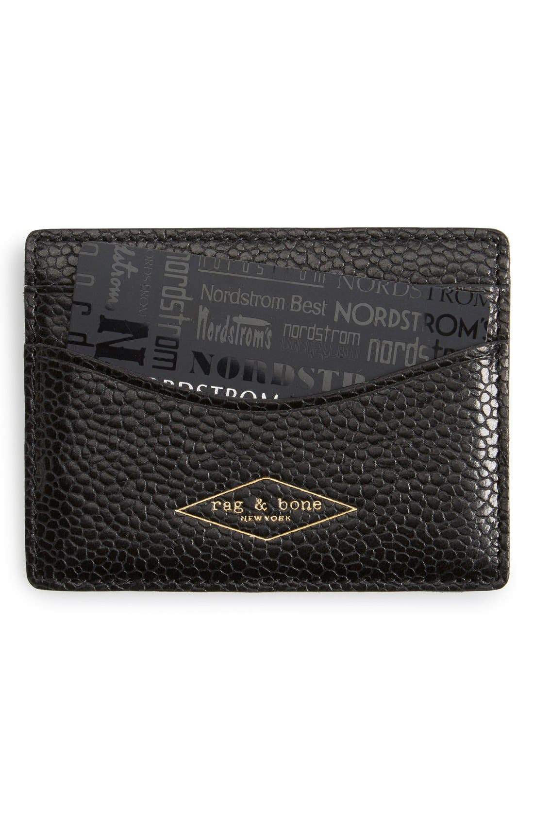 Pebbled Leather Card Case,                         Main,                         color, 007