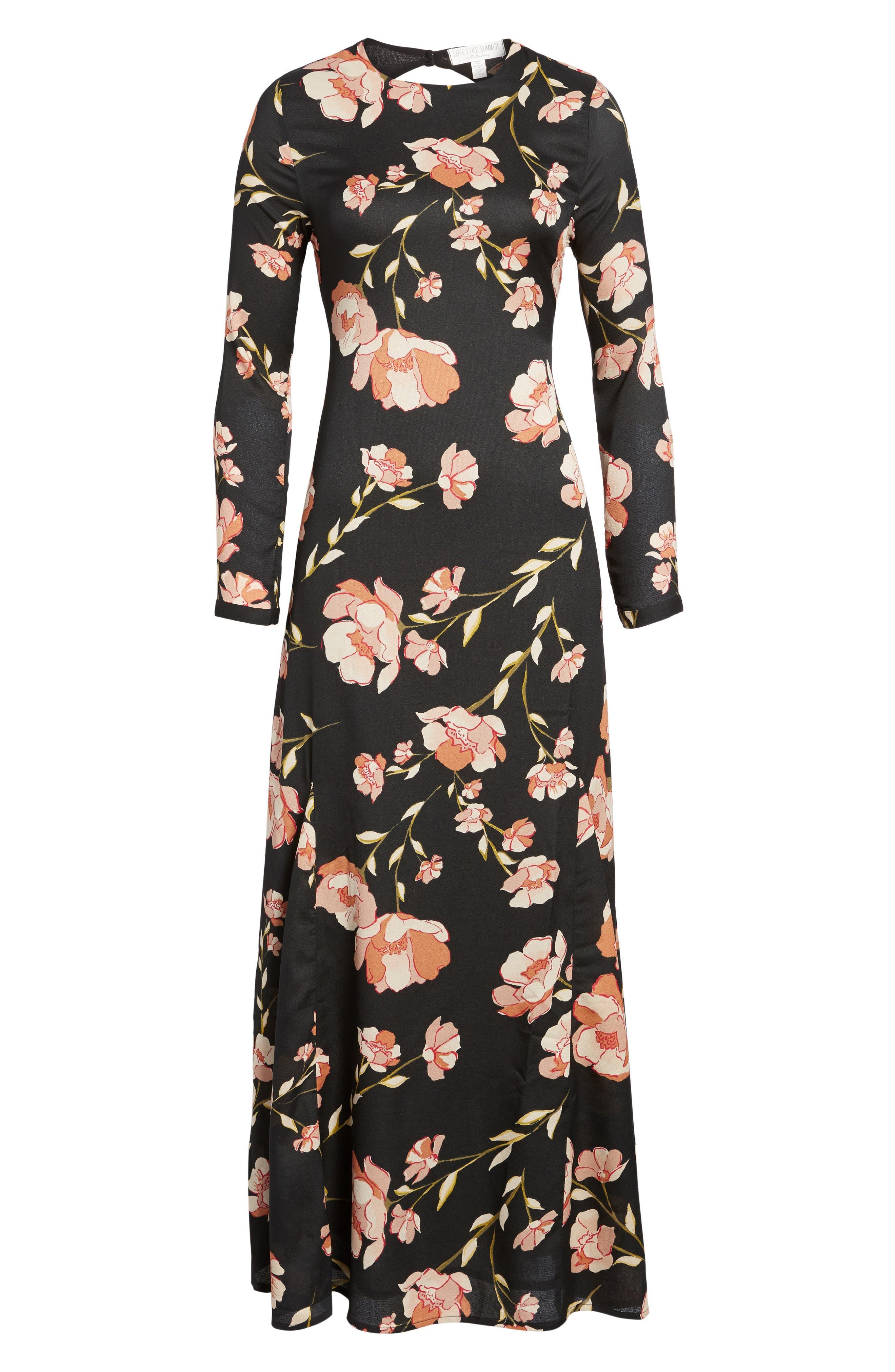 Floral Print Maxi Dress,                             Alternate thumbnail 7, color,                             001