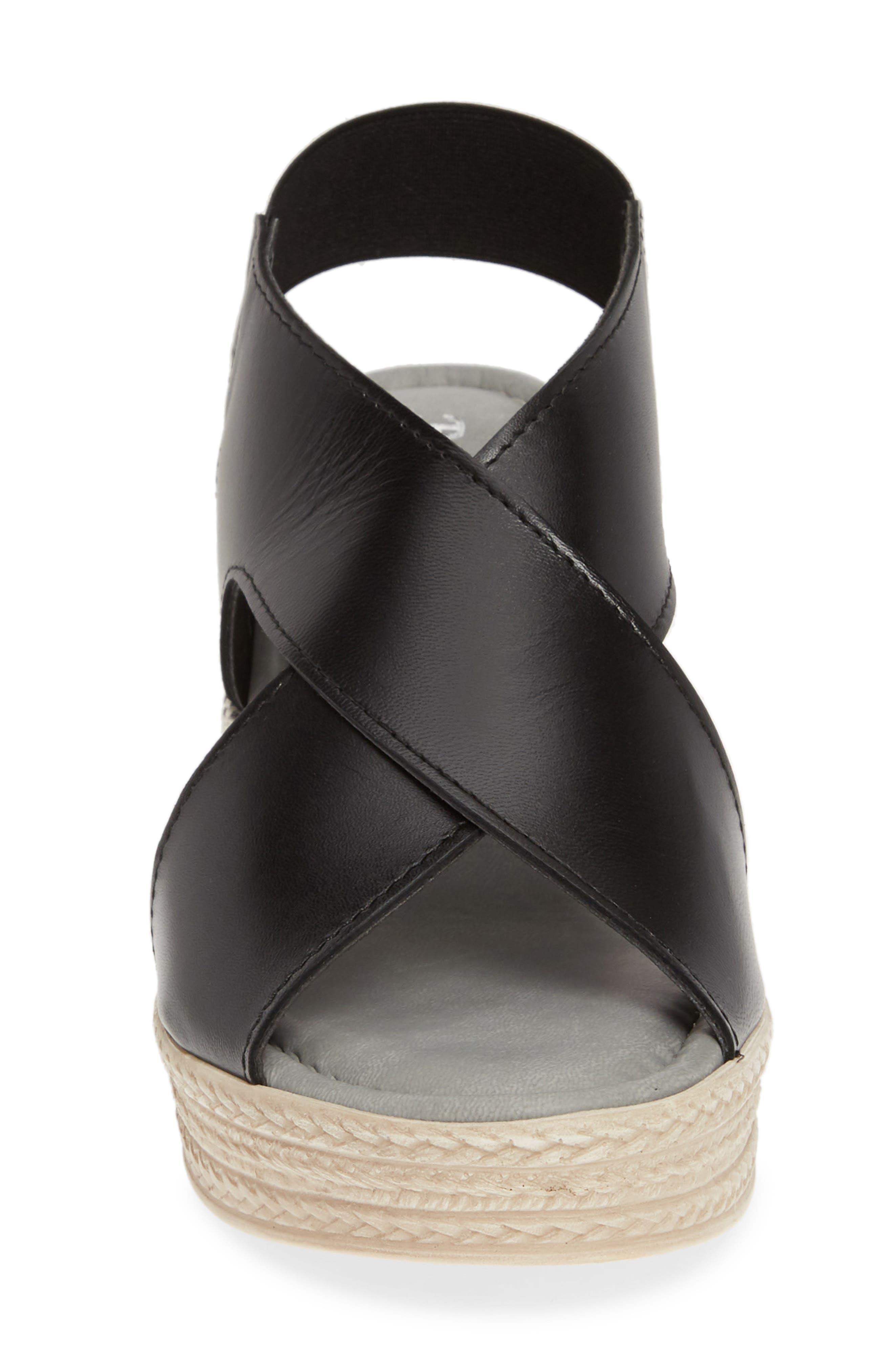 Slingback Sandal,                             Alternate thumbnail 4, color,                             BLACK ITALIAN LEATHER