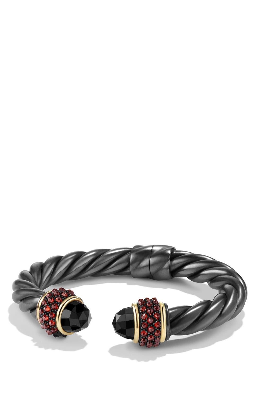 'Osetra' Bracelet with Black Onyx, Garnet and 18K Gold, Main, color, 001