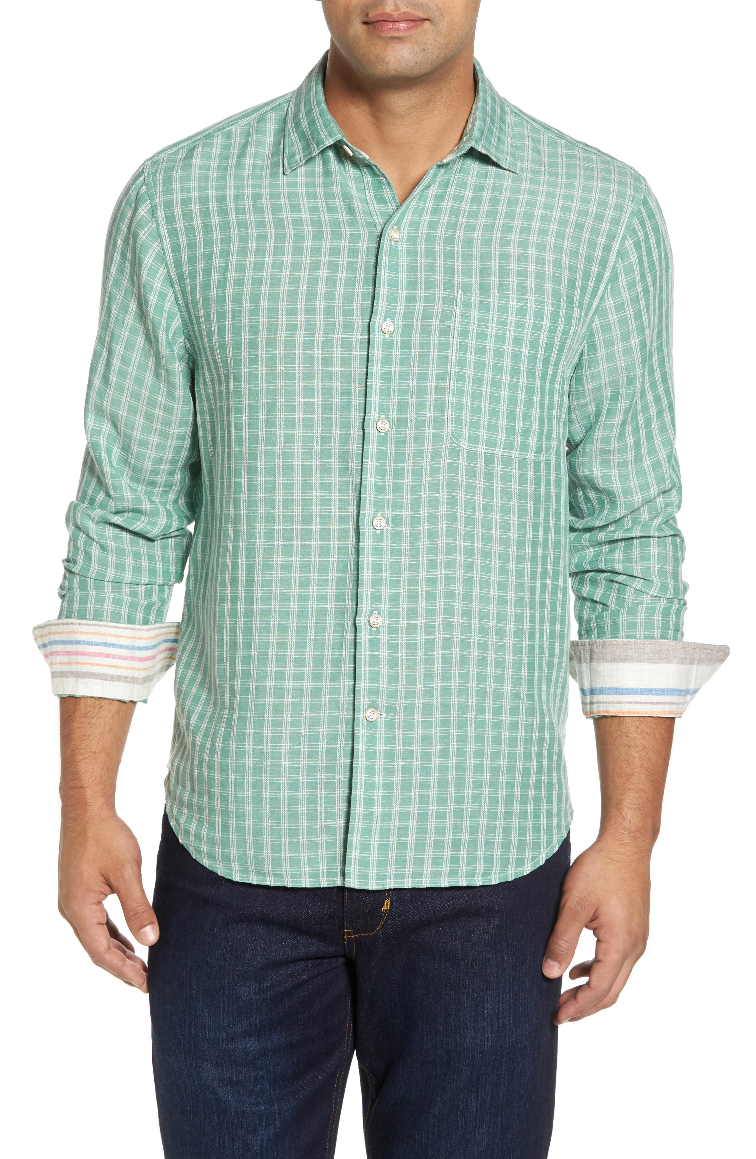 Plaid Sand Linen Blend Sport Shirt,                             Main thumbnail 1, color,