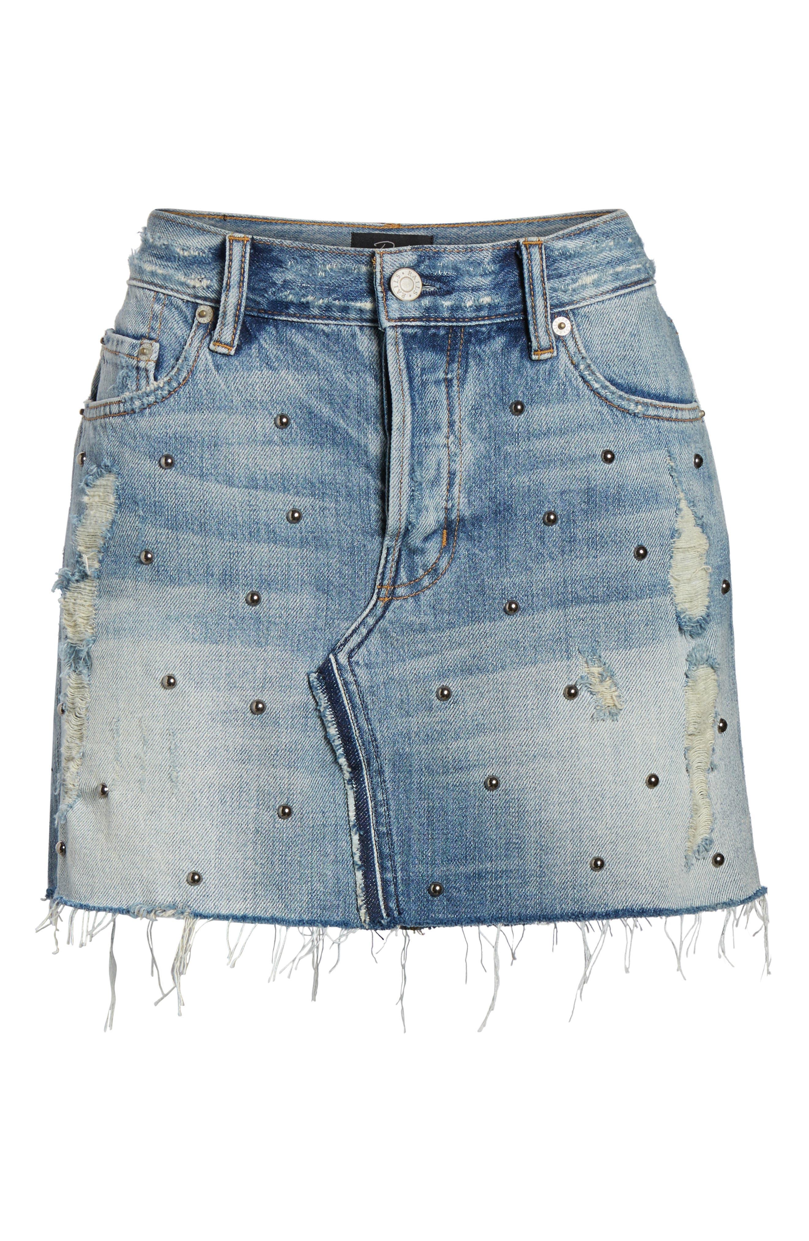 Wynonna Studded Cutoff Denim Miniskirt,                             Alternate thumbnail 7, color,                             MED VINTAGE ALL OVER STUDDED