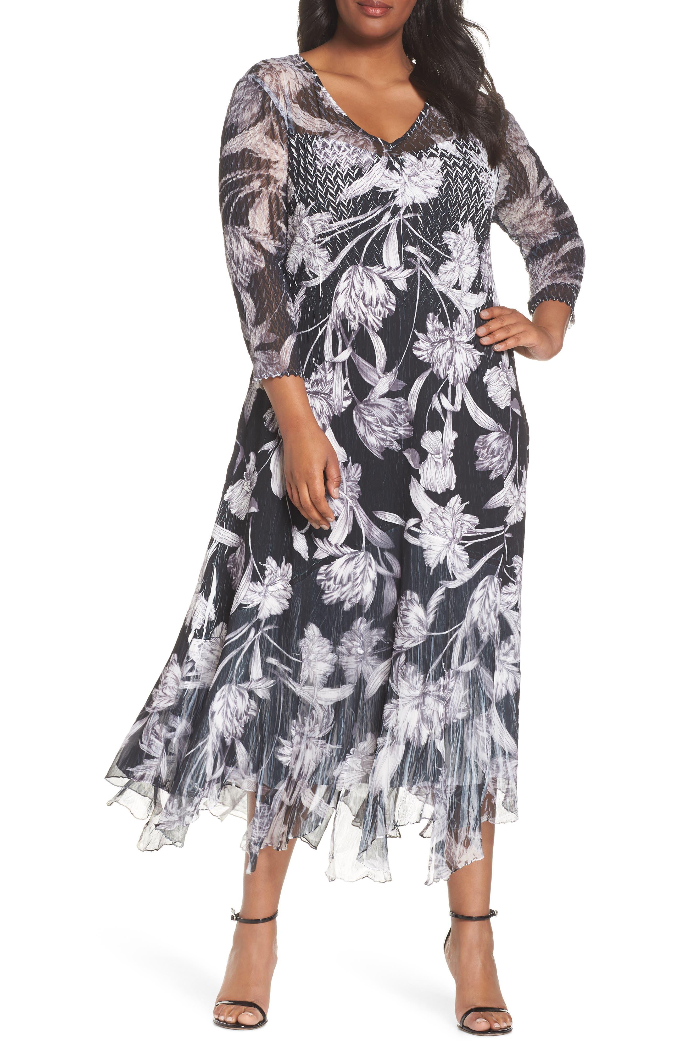 Plus Size Komarov Handkerchief Hem Floral Charmeuse & Chiffon Dress