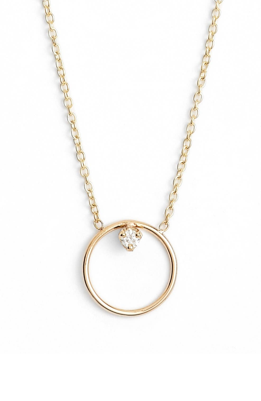 Diamond Circle Necklace,                         Main,                         color, YELLOW GOLD