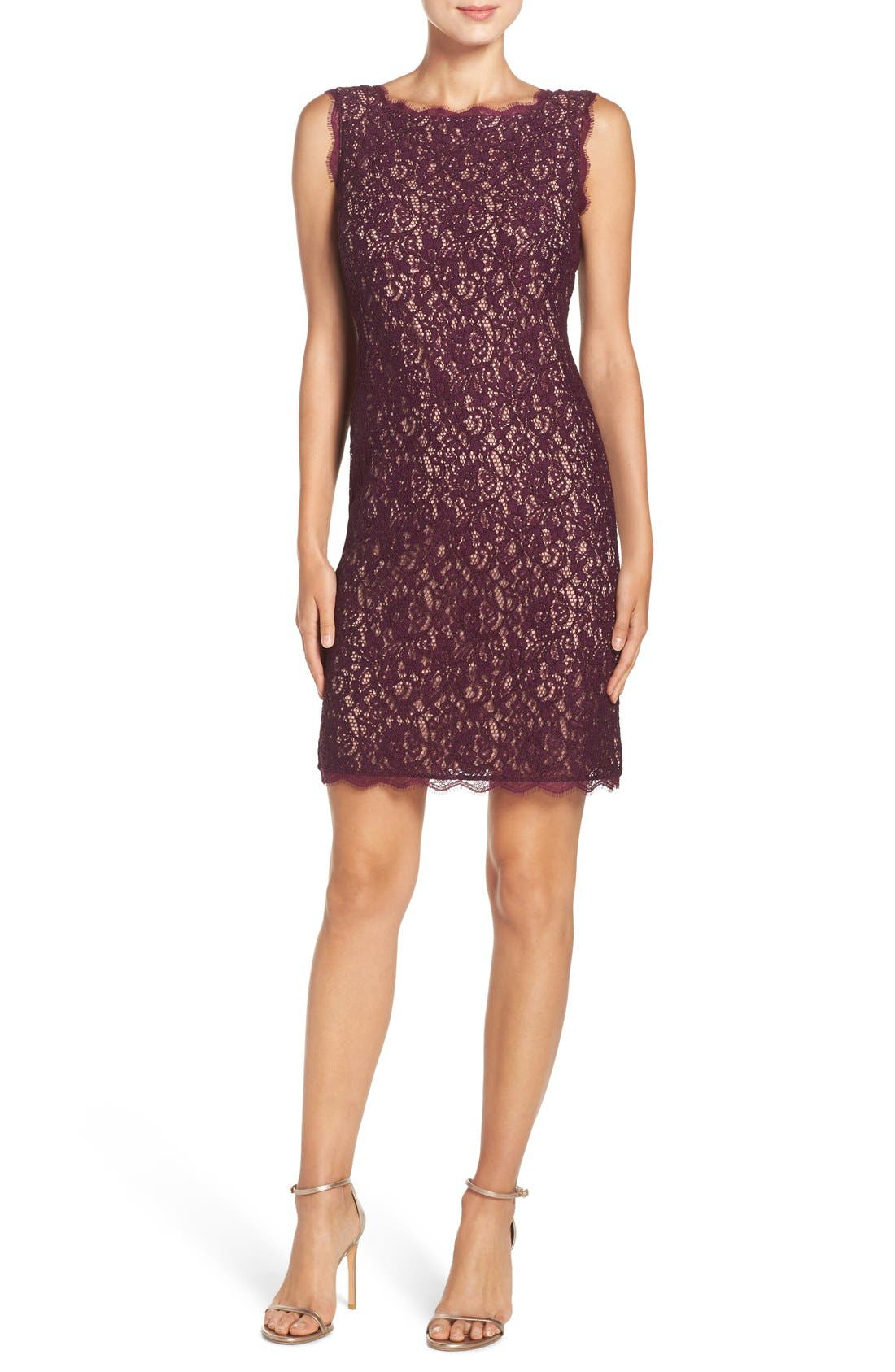 Boatneck Lace Sheath Dress,                             Alternate thumbnail 134, color,