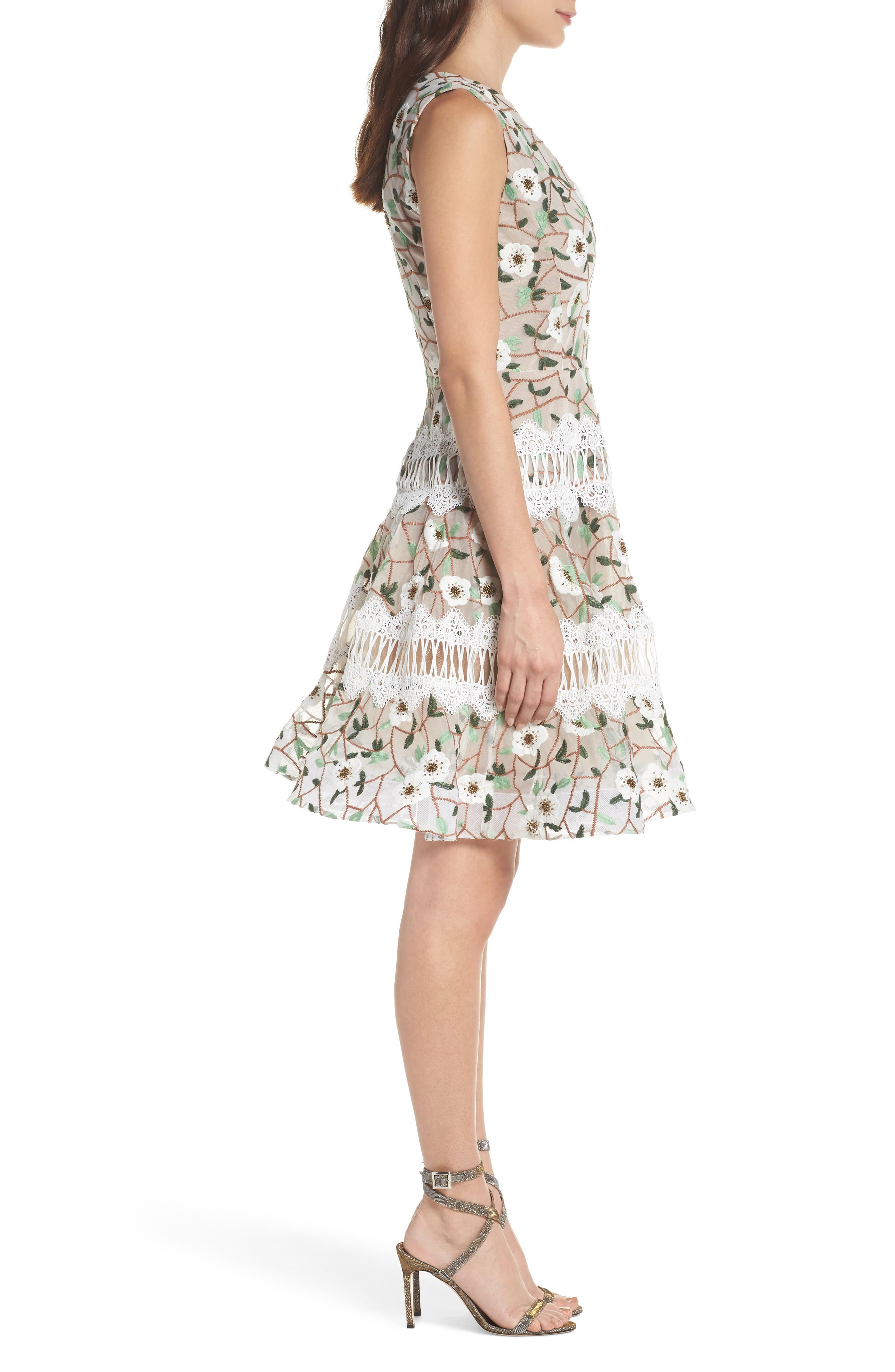 Boni Embroidered Plunging Fit & Flare Dress,                             Alternate thumbnail 3, color,                             MULTICOLOR