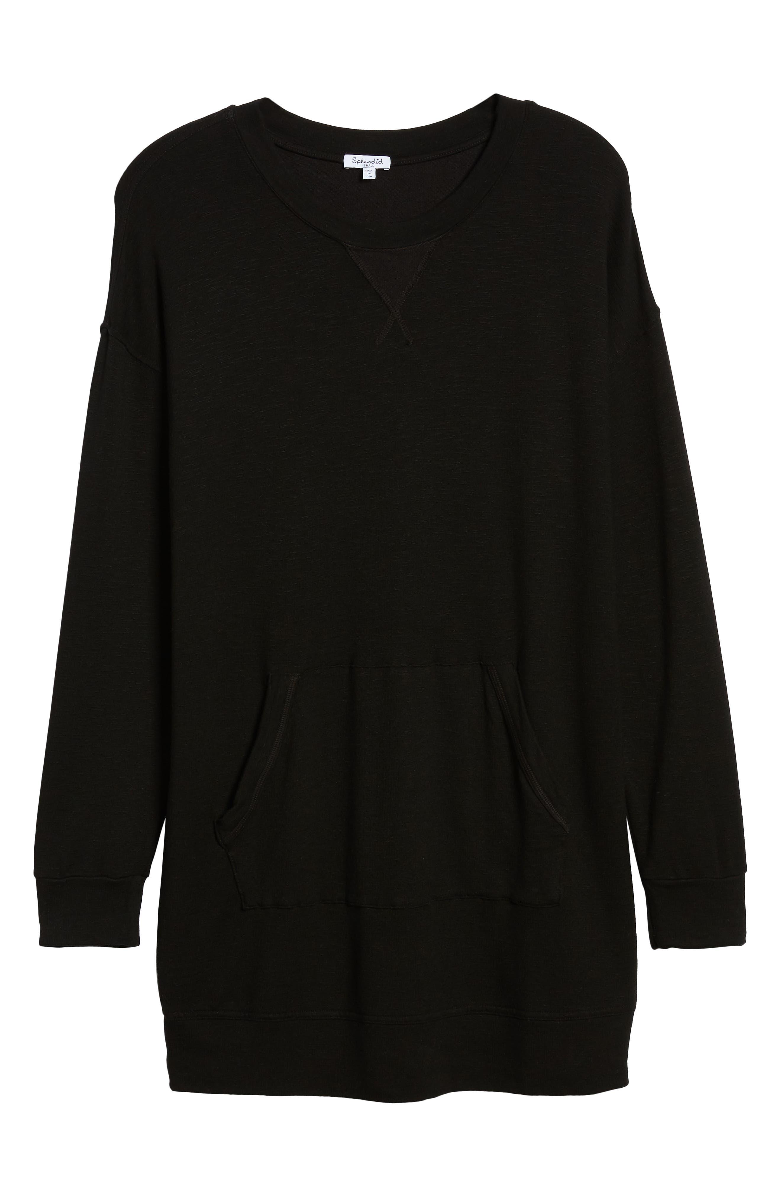 Active Sweatshirt Dress,                             Alternate thumbnail 6, color,                             BLACK