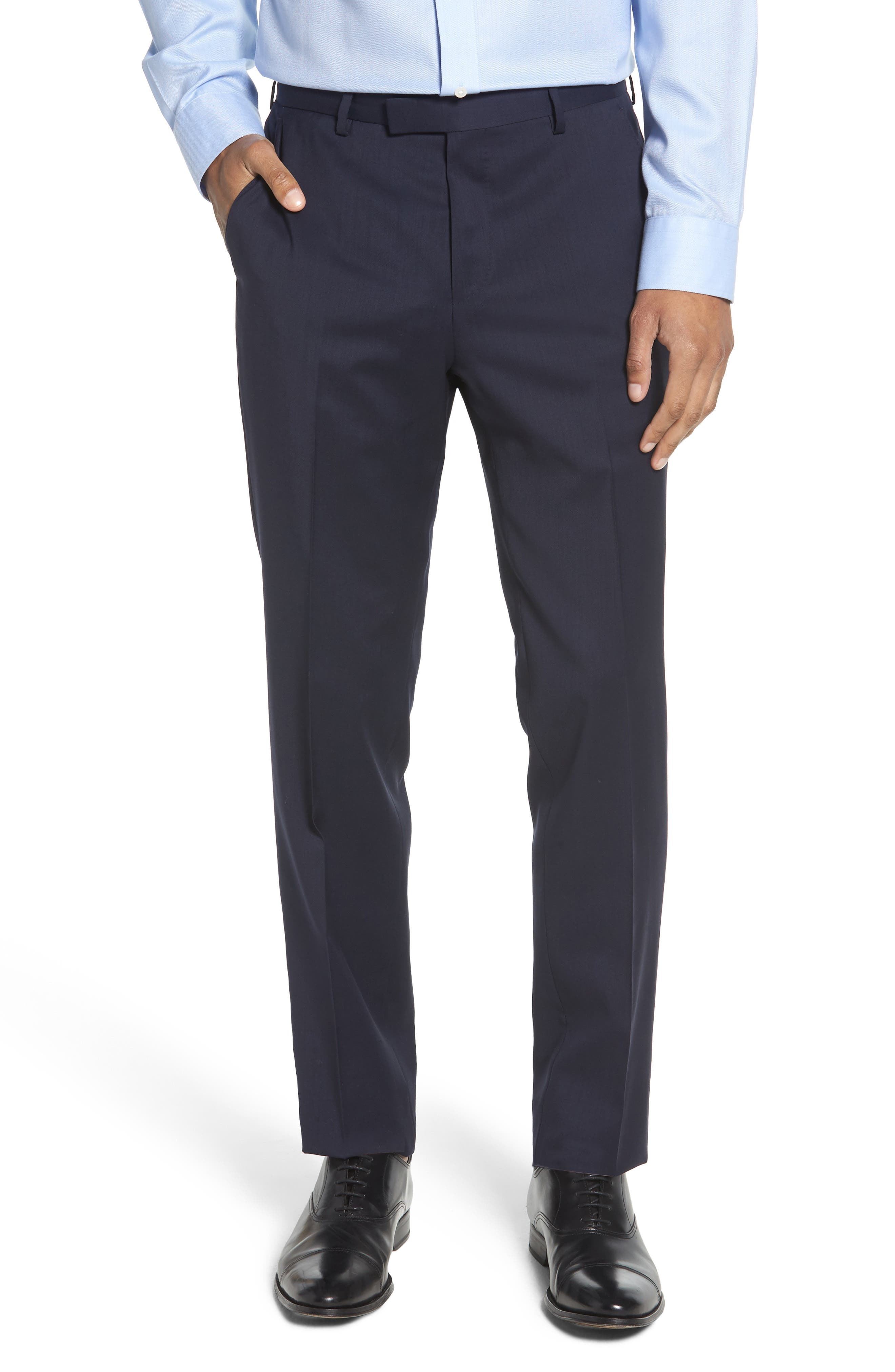 Leenon Flat Front Regular Fit Solid Wool Trousers,                         Main,                         color, NAVY
