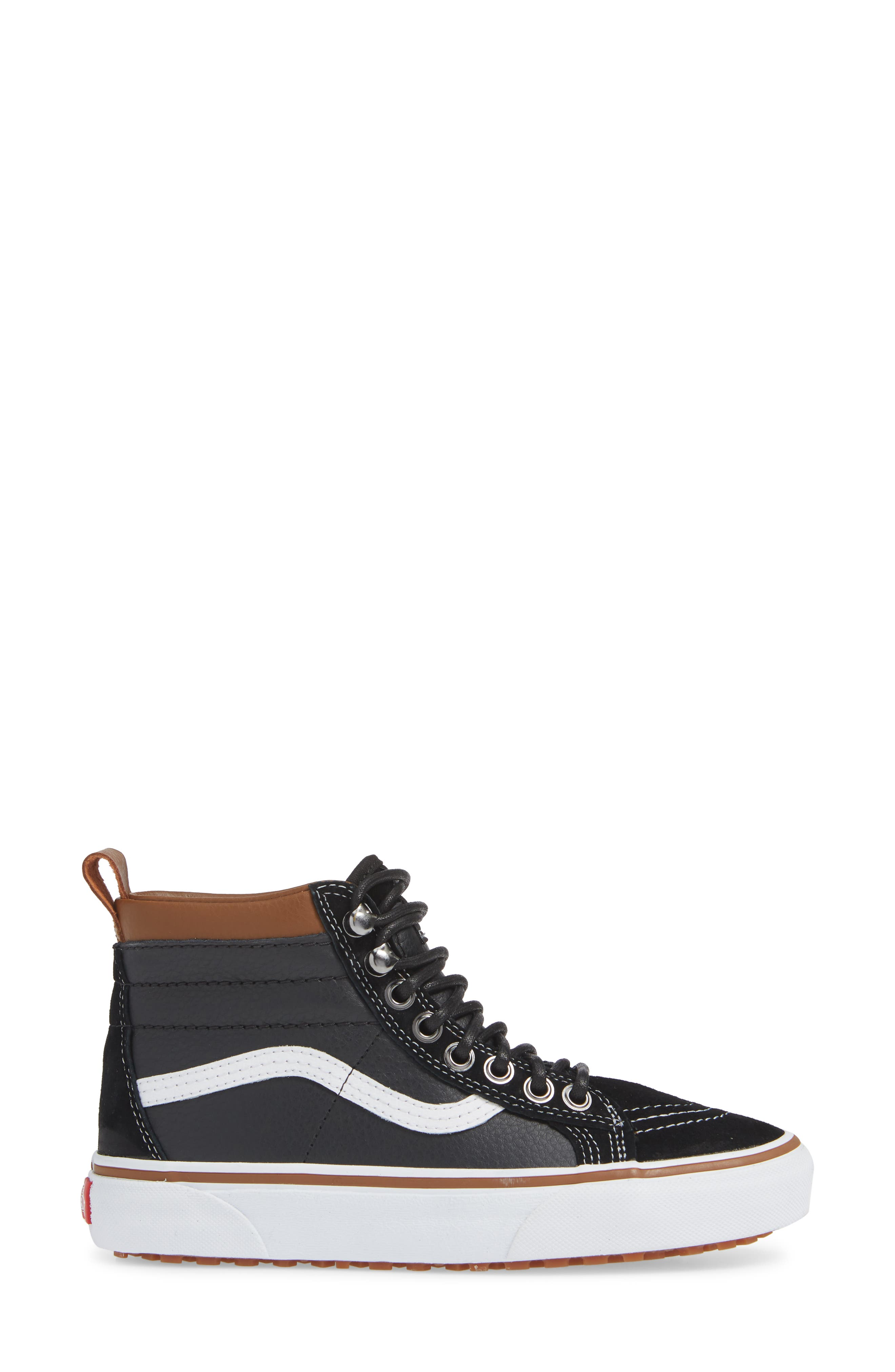 Sk-8 Hi MTE Sneaker,                             Alternate thumbnail 3, color,                             LEATHER/ BLACK/ TRUE WHITE