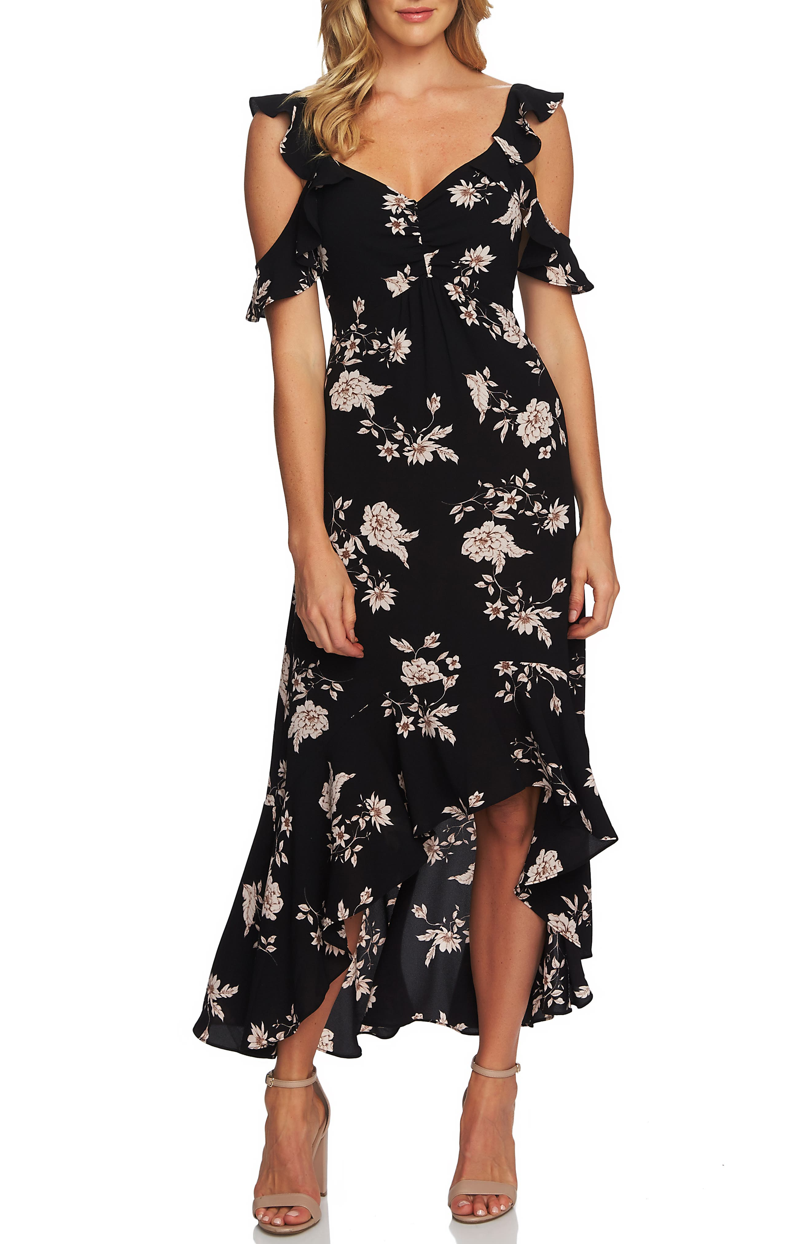 Cece Etched Floral High/low Midi Dress, Black