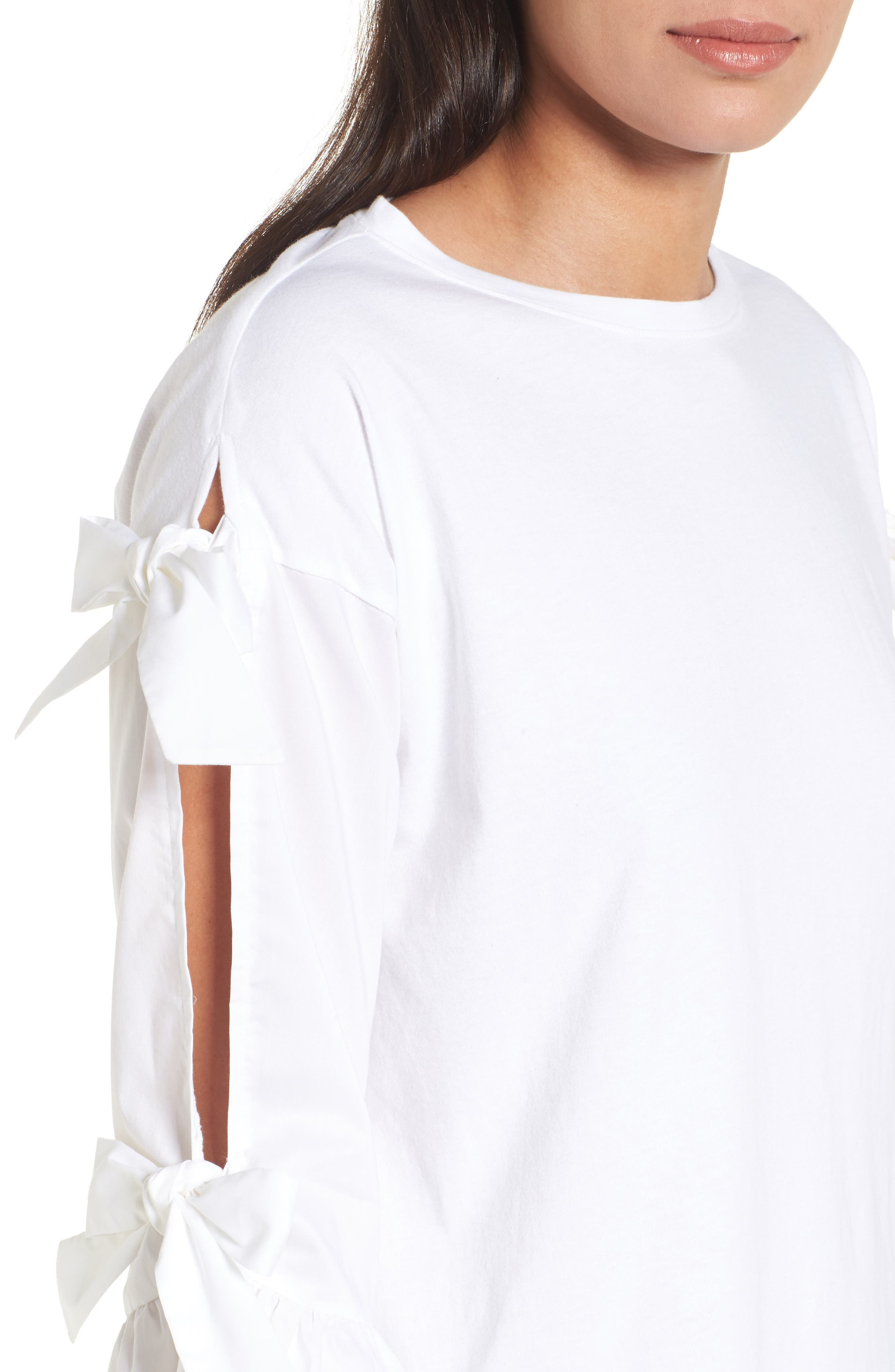 Bow Sleeve Poplin Cotton Top,                             Alternate thumbnail 4, color,                             100