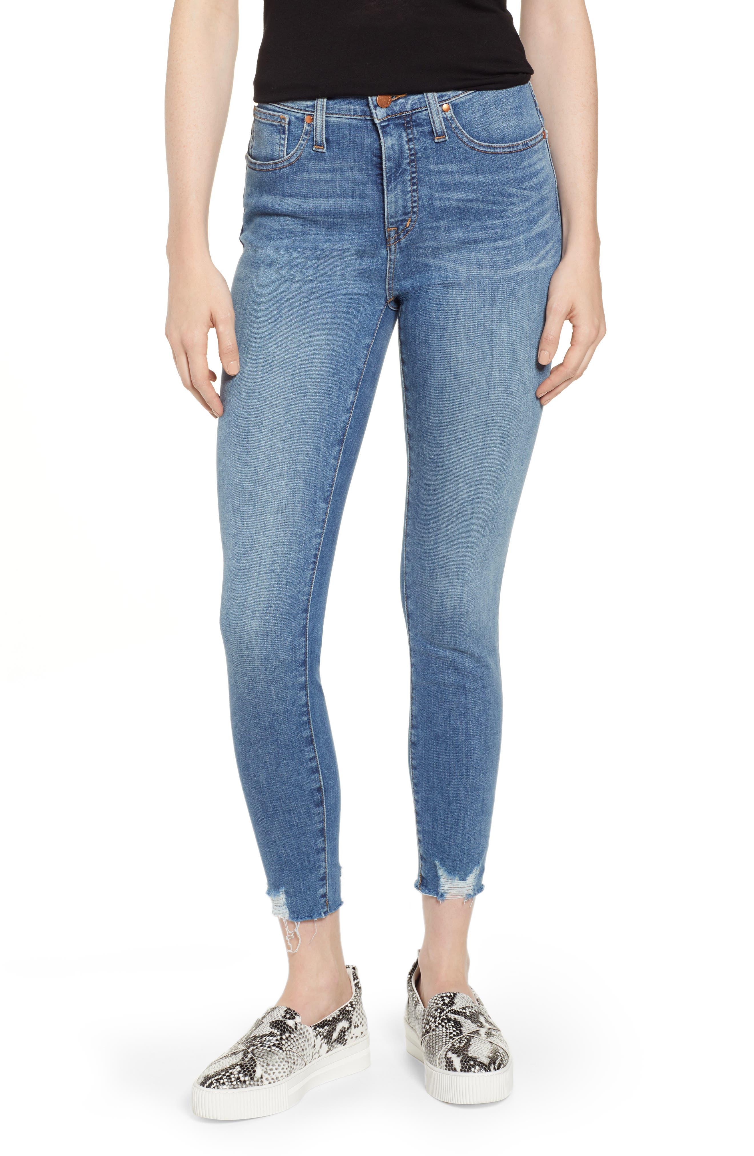 Sierra High Waist Raw Hem Skinny Jeans, Main, color, NORIKO