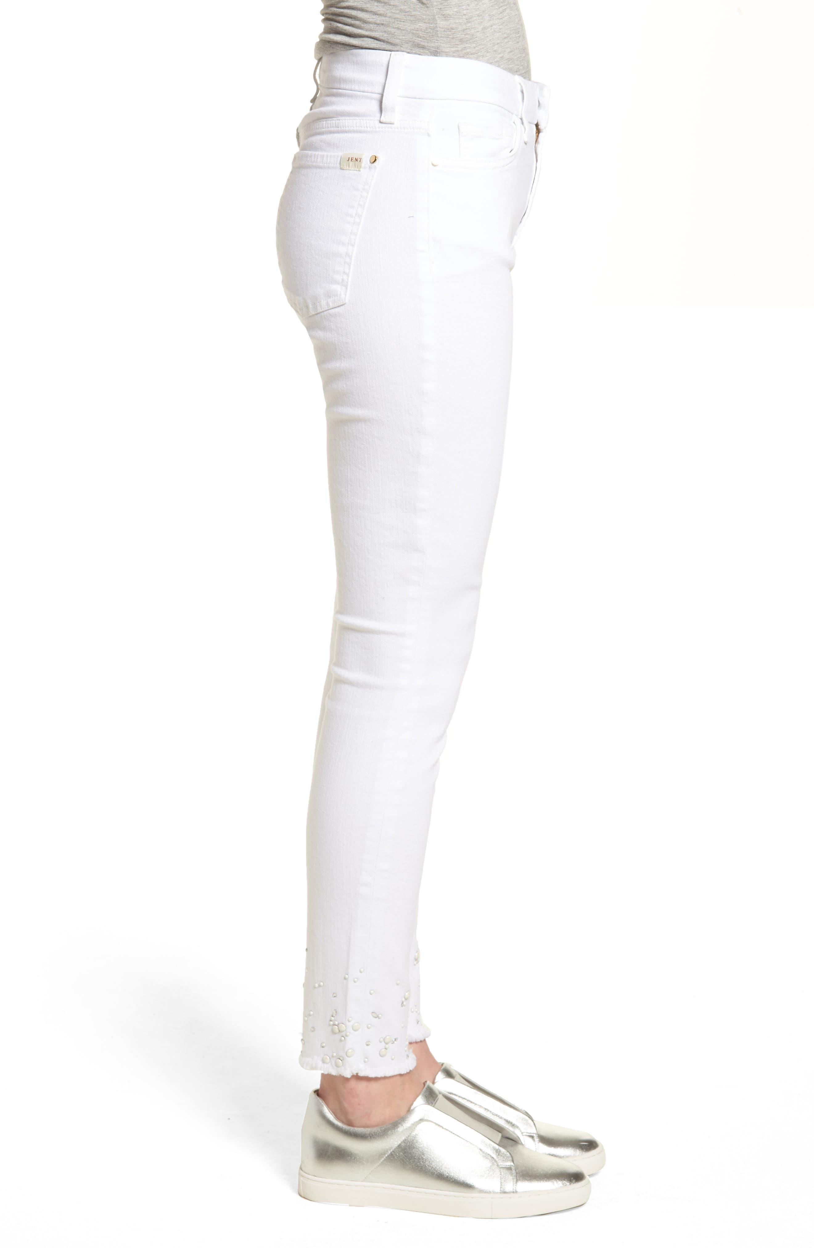 Crystal Hem Ankle Skinny Jeans,                             Alternate thumbnail 3, color,                             WHITE