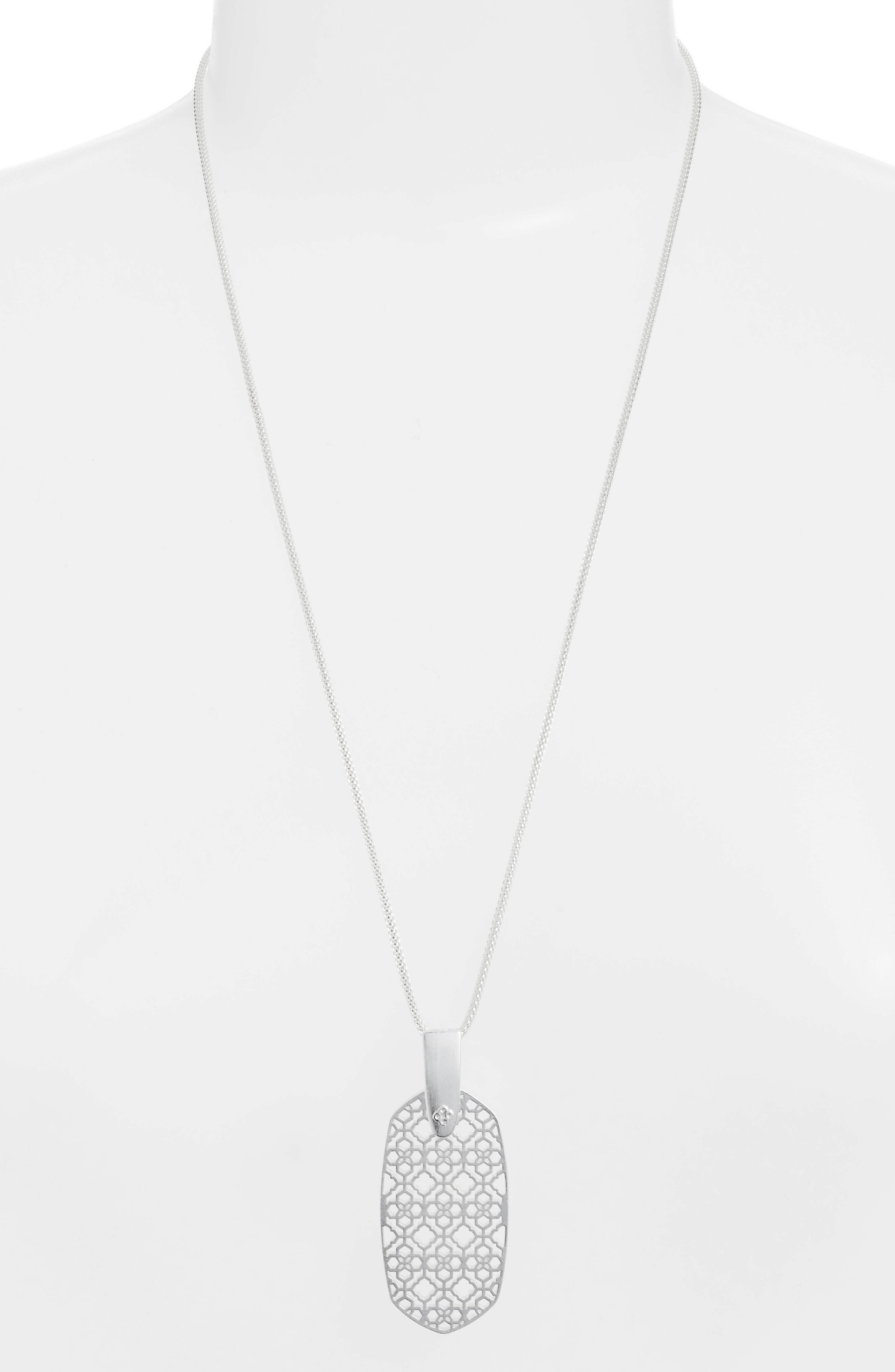 KENDRA SCOTT Inez Filigree Pendant Necklace, Main, color, RHODIUM FILIGREE METAL