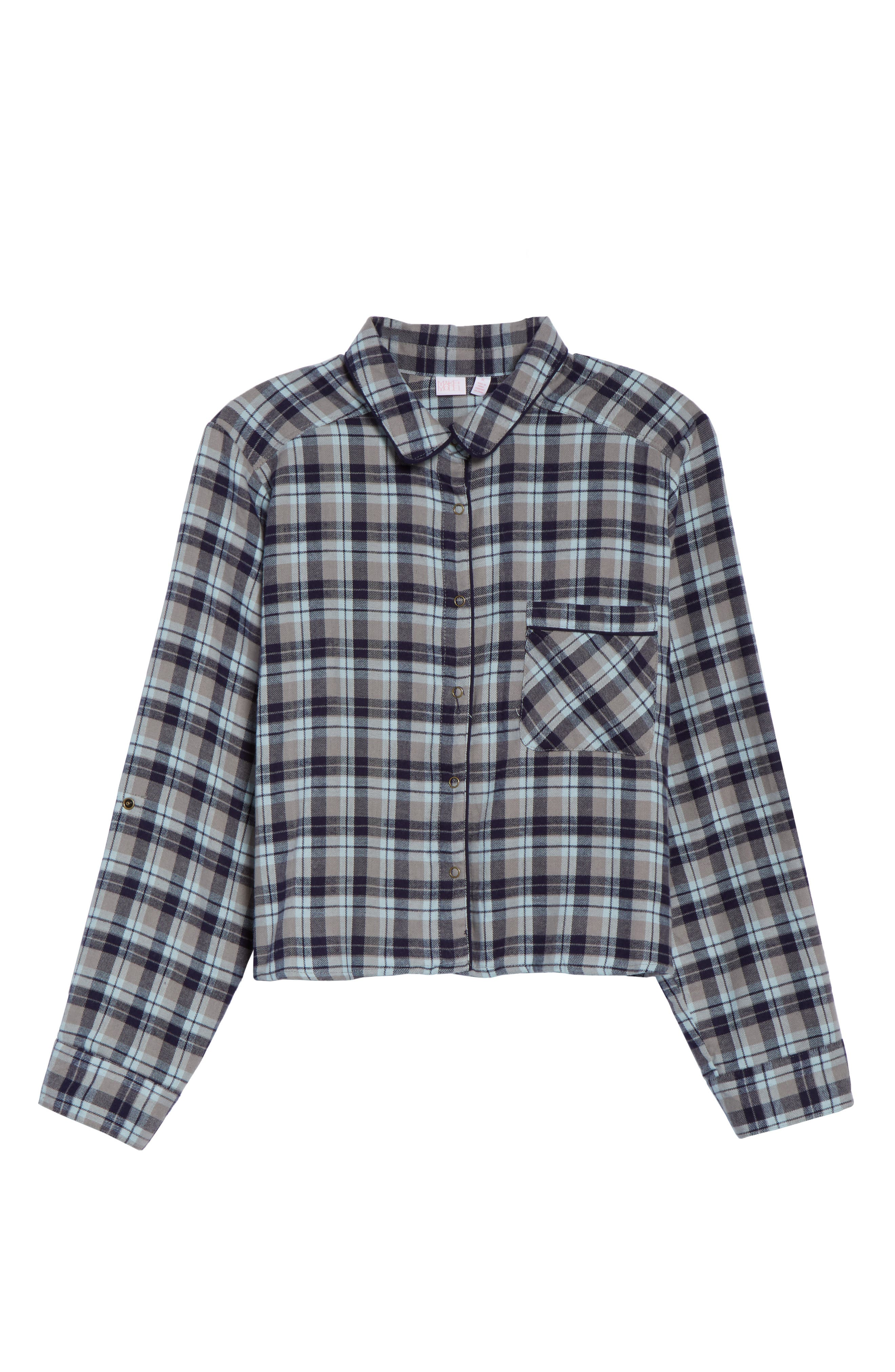 Crop Flannel Pajama Top,                             Alternate thumbnail 13, color,                             310