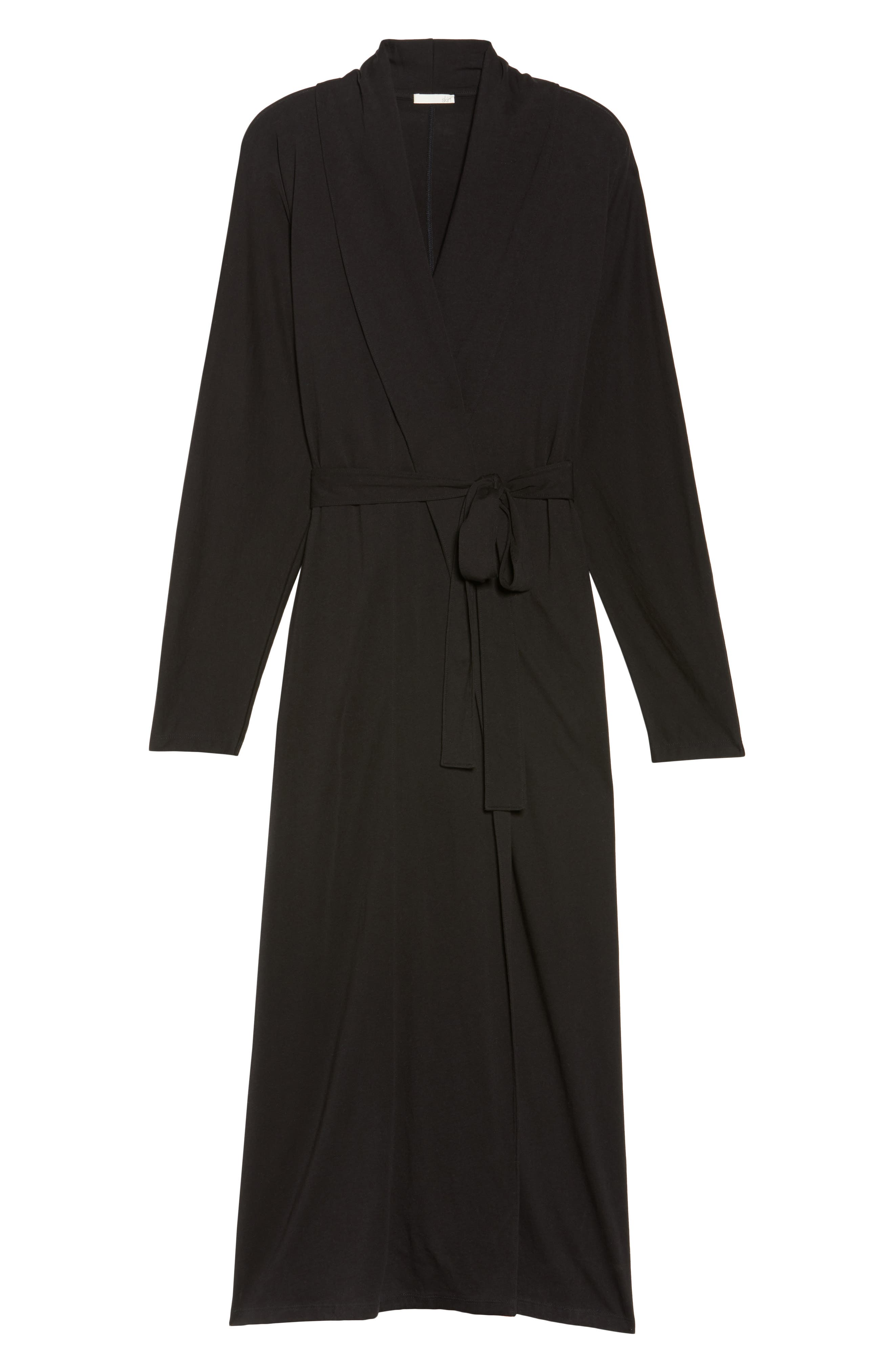 Paola Pima Cotton Robe,                             Alternate thumbnail 6, color,                             001