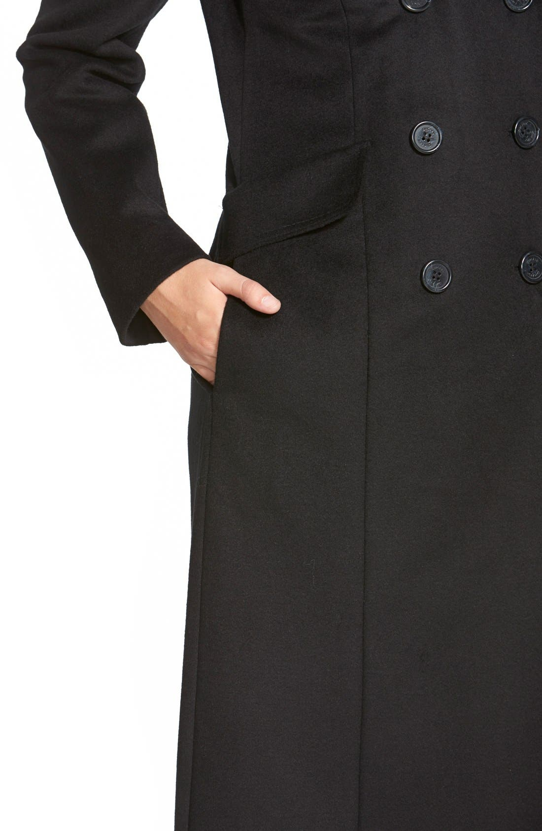 Long Wool Blend Coat with Faux Fur Collar,                             Alternate thumbnail 4, color,                             001