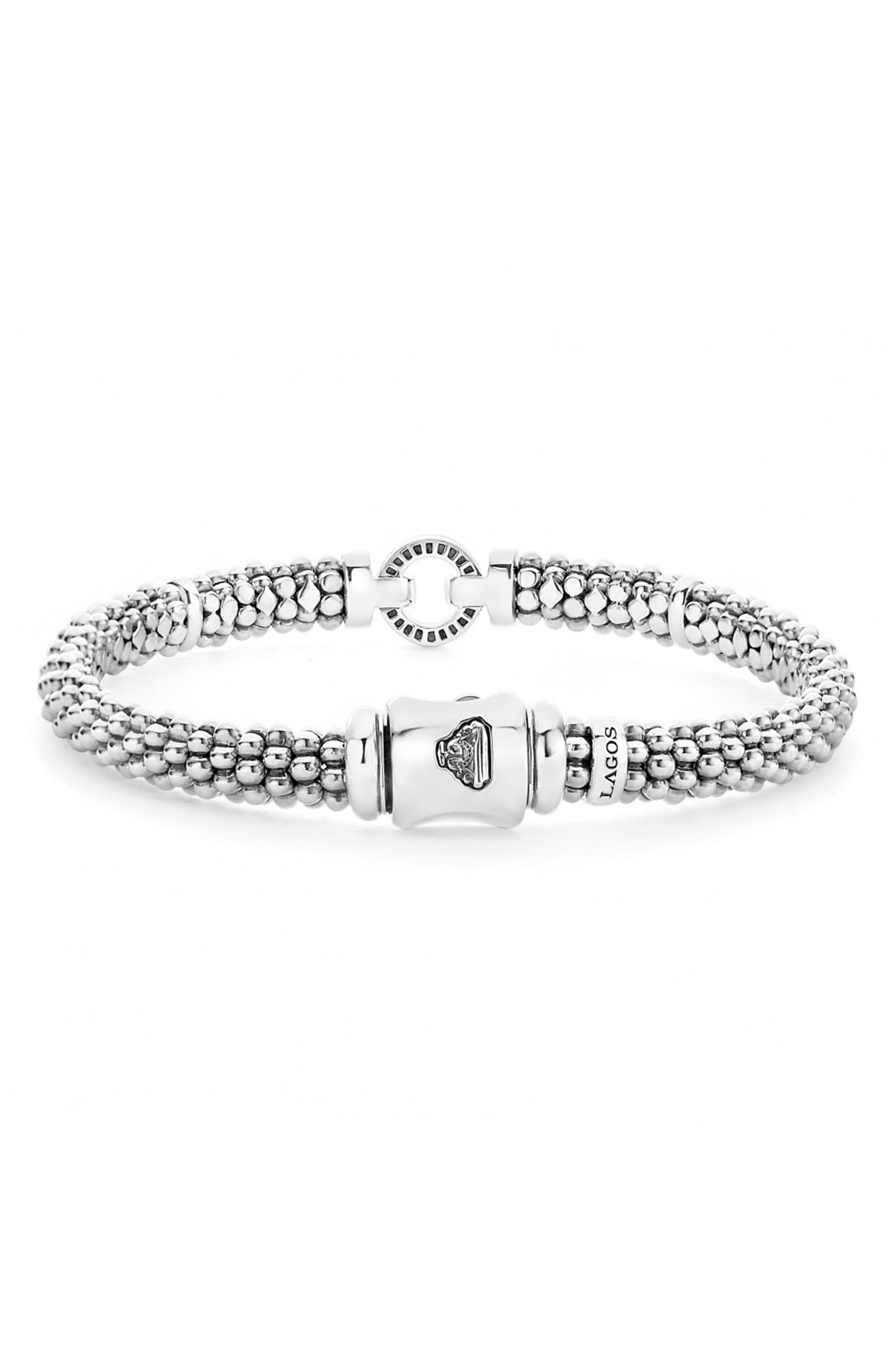 Enso Boxed Circle Station Caviar Rope Bracelet,                             Alternate thumbnail 4, color,                             STERLING SILVER