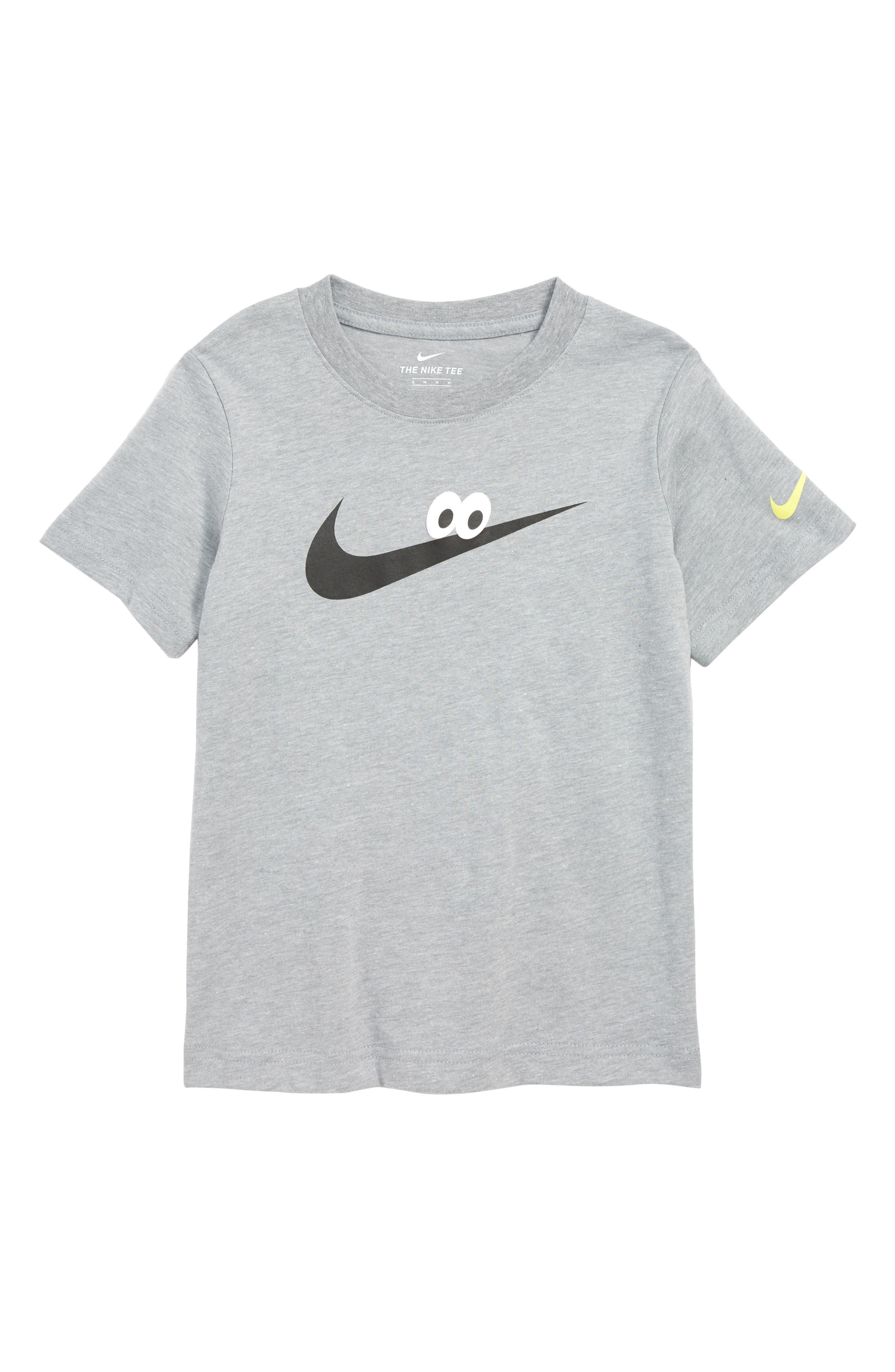 Googly Eyes Swoosh T-Shirt,                             Main thumbnail 1, color,                             DK GREY HEATHER