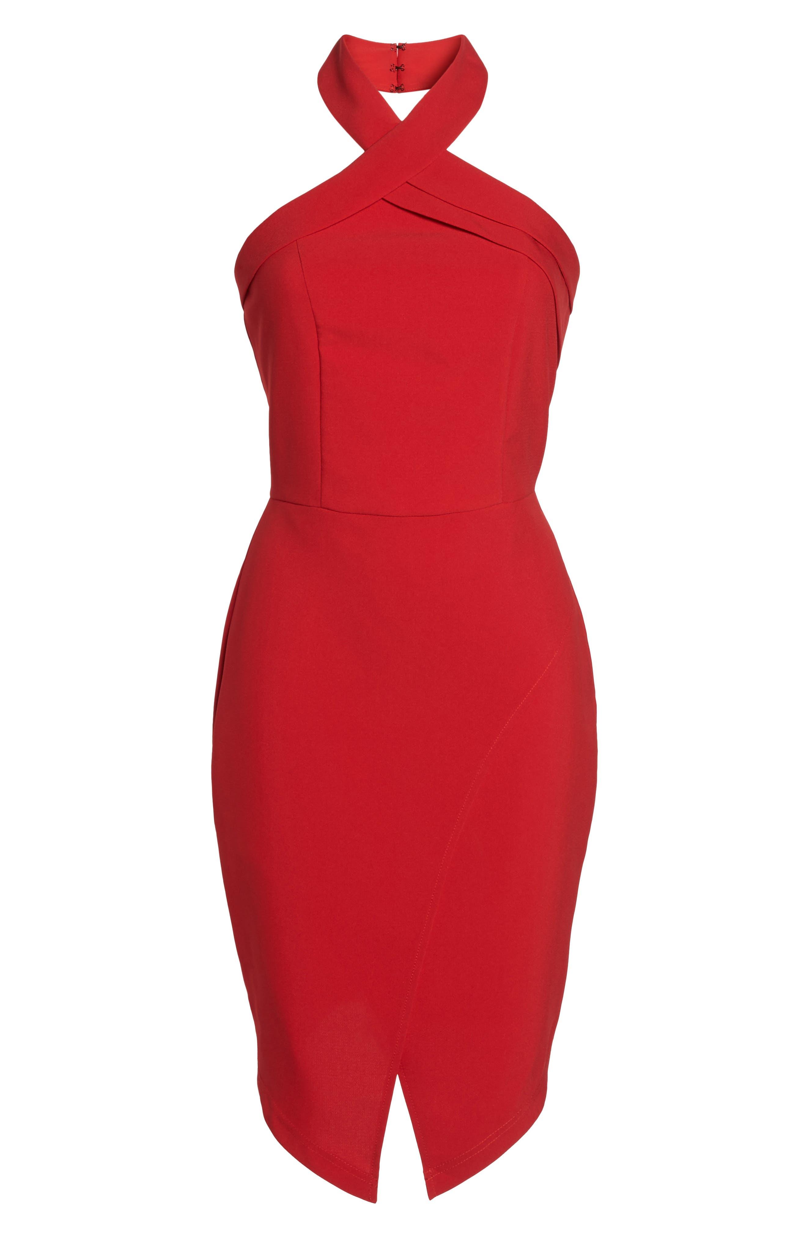 Halter Asymmetrical Sheath Dress,                             Alternate thumbnail 7, color,                             600
