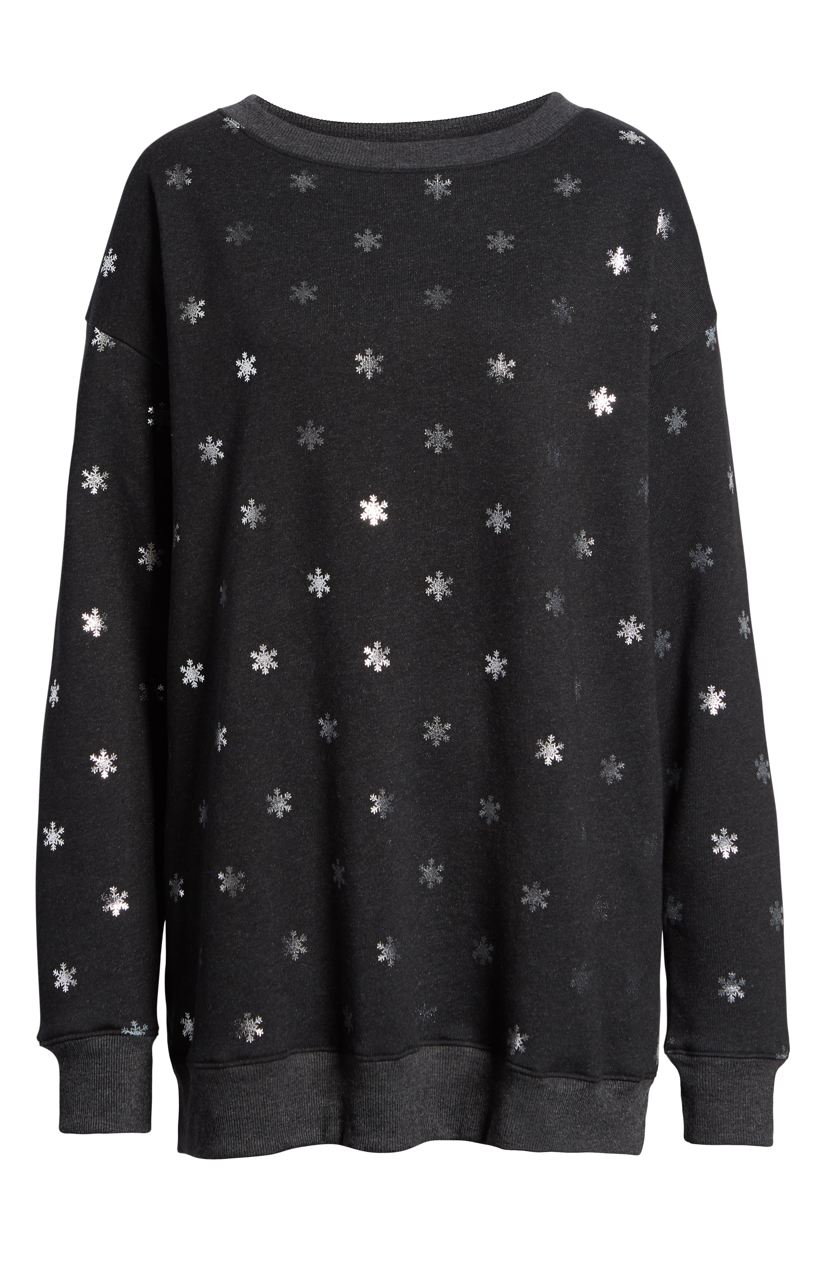 WILDFOX,                             Shimmery Snowflakes Road Trip Pullover,                             Alternate thumbnail 6, color,                             002