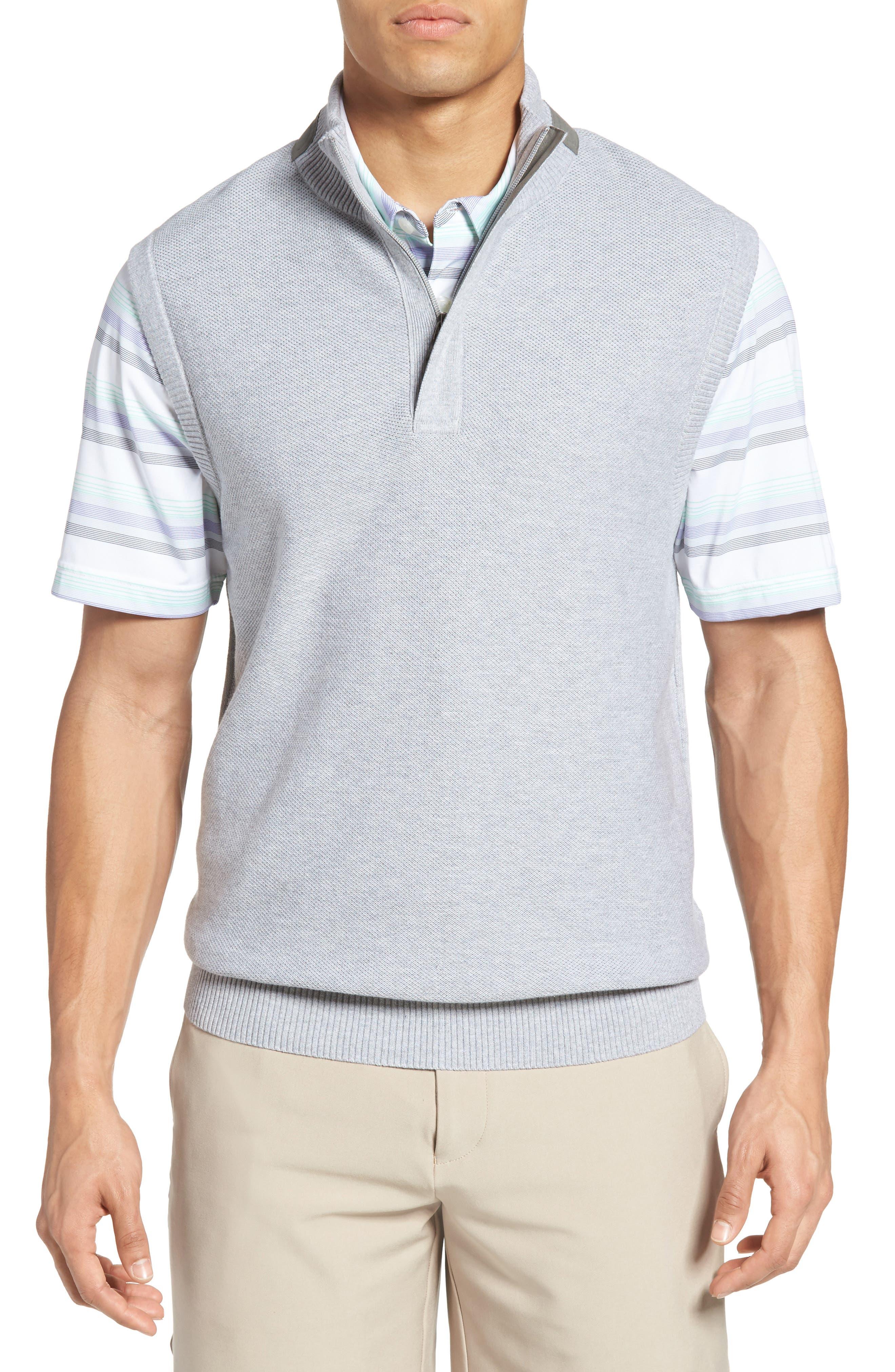 Piqué Jersey Quarter Zip Golf Vest,                             Main thumbnail 1, color,                             078