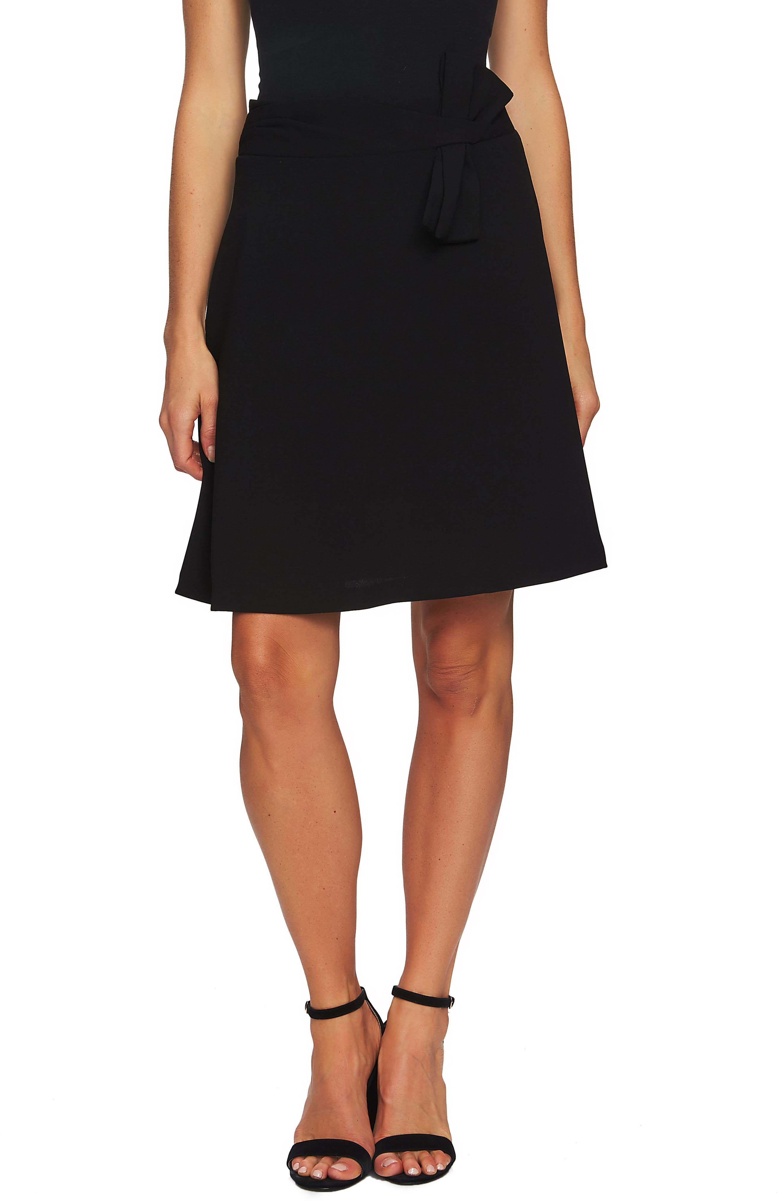 Bow Detail Moss Crepe Skirt, Main, color, RICH BLACK