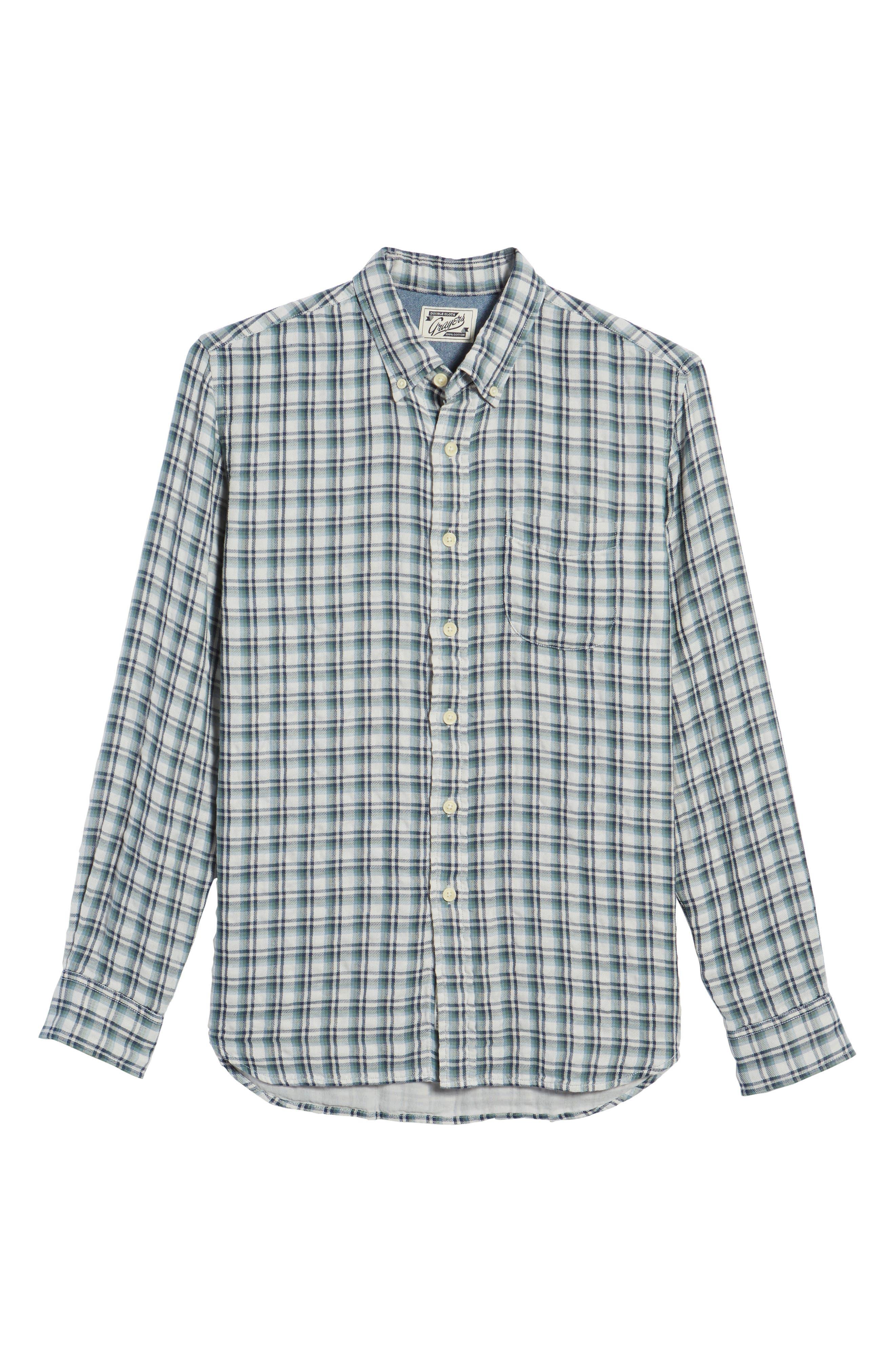 GRAYERS,                             Boulder Double Cloth Plaid Sport Shirt,                             Alternate thumbnail 6, color,                             100