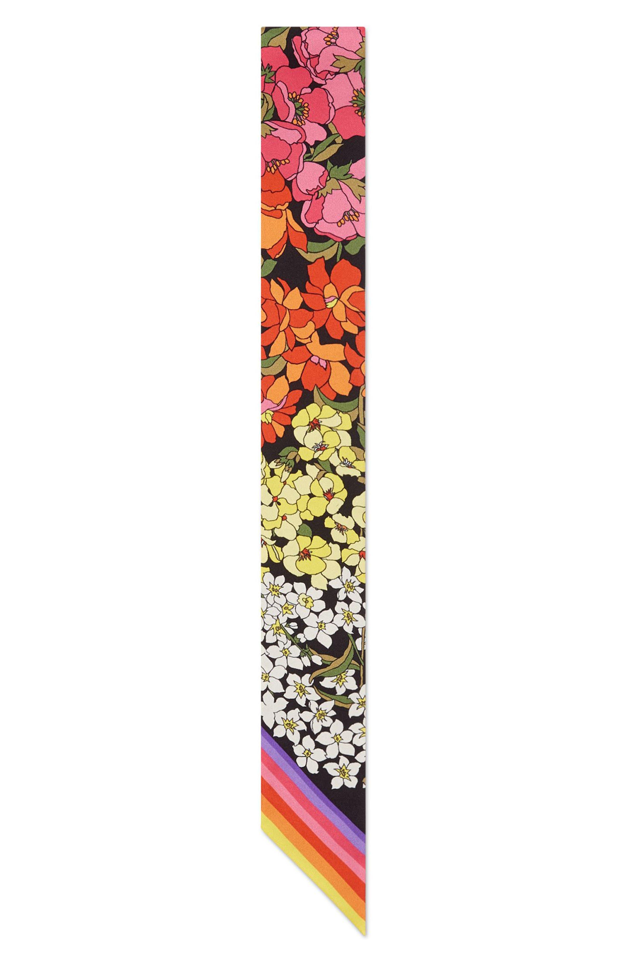 GG Degradé Flowers Silk Twill Neck Scarf,                             Alternate thumbnail 2, color,                             BLACK/ MULTICOLOR