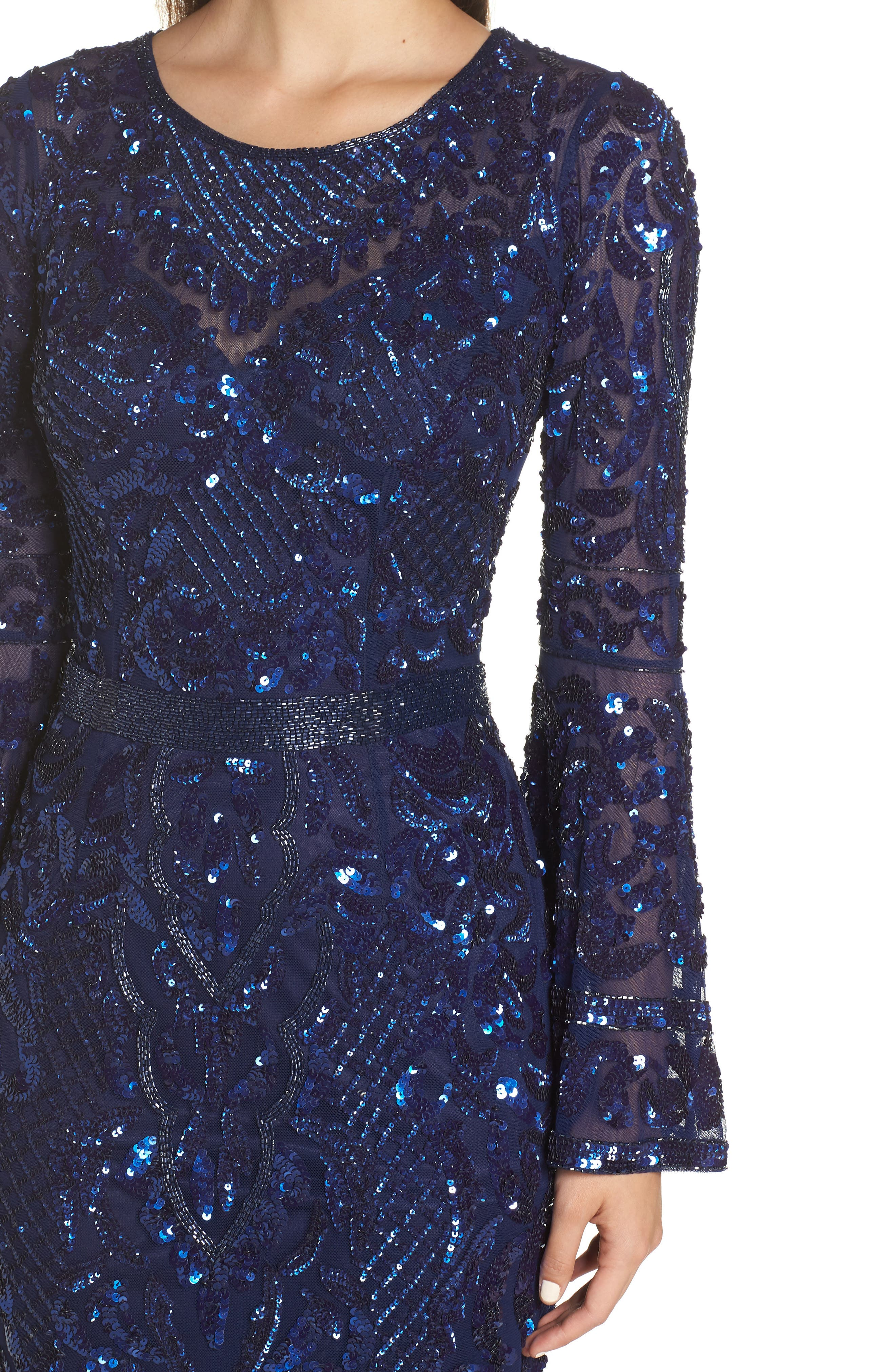 Sequin Bell Sleeve Gown,                             Alternate thumbnail 6, color,                             MIDNIGHT