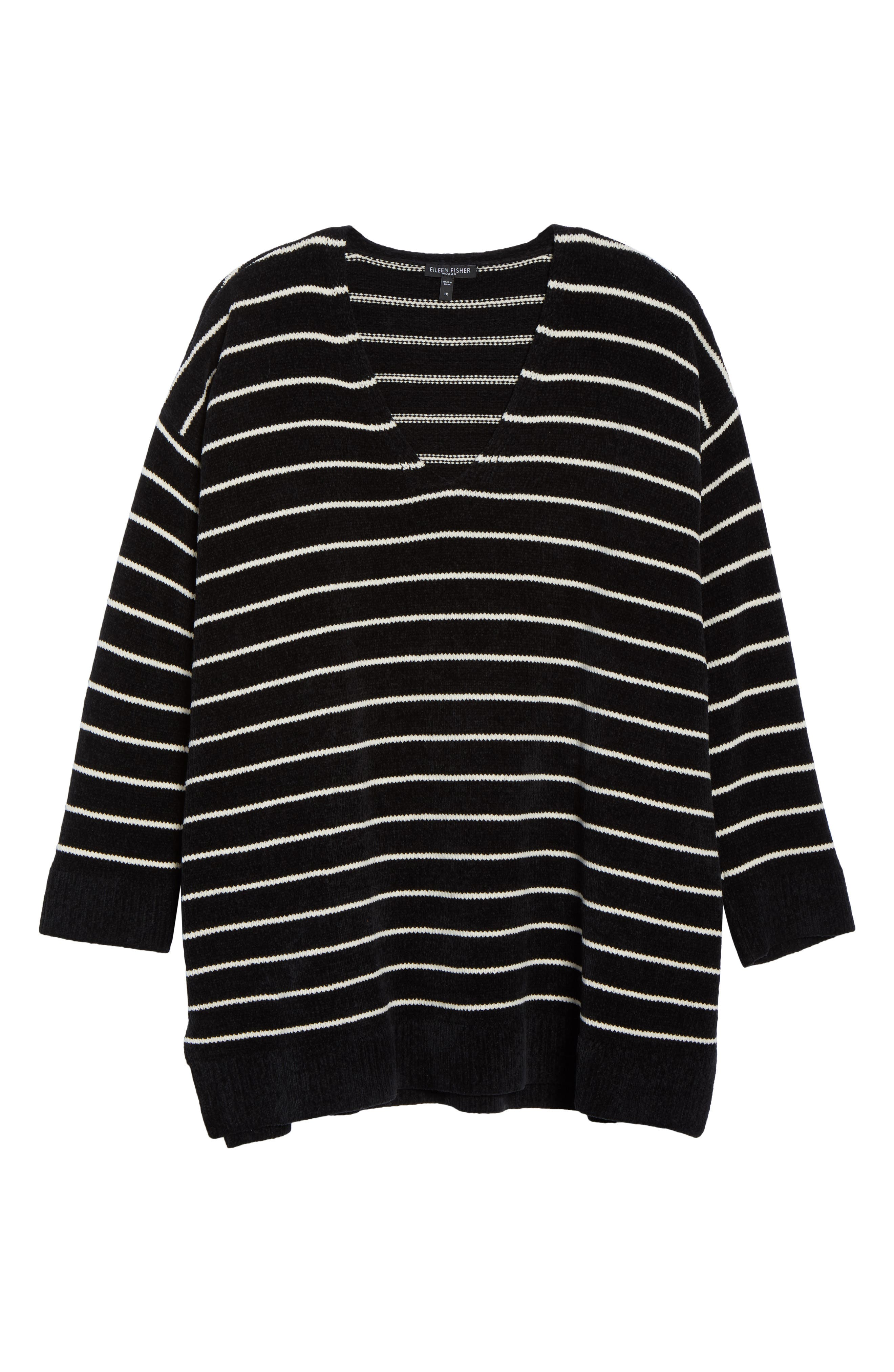 Stripe Organic Cotton Sweater,                             Alternate thumbnail 6, color,                             BLACK/ SOFT WHITE