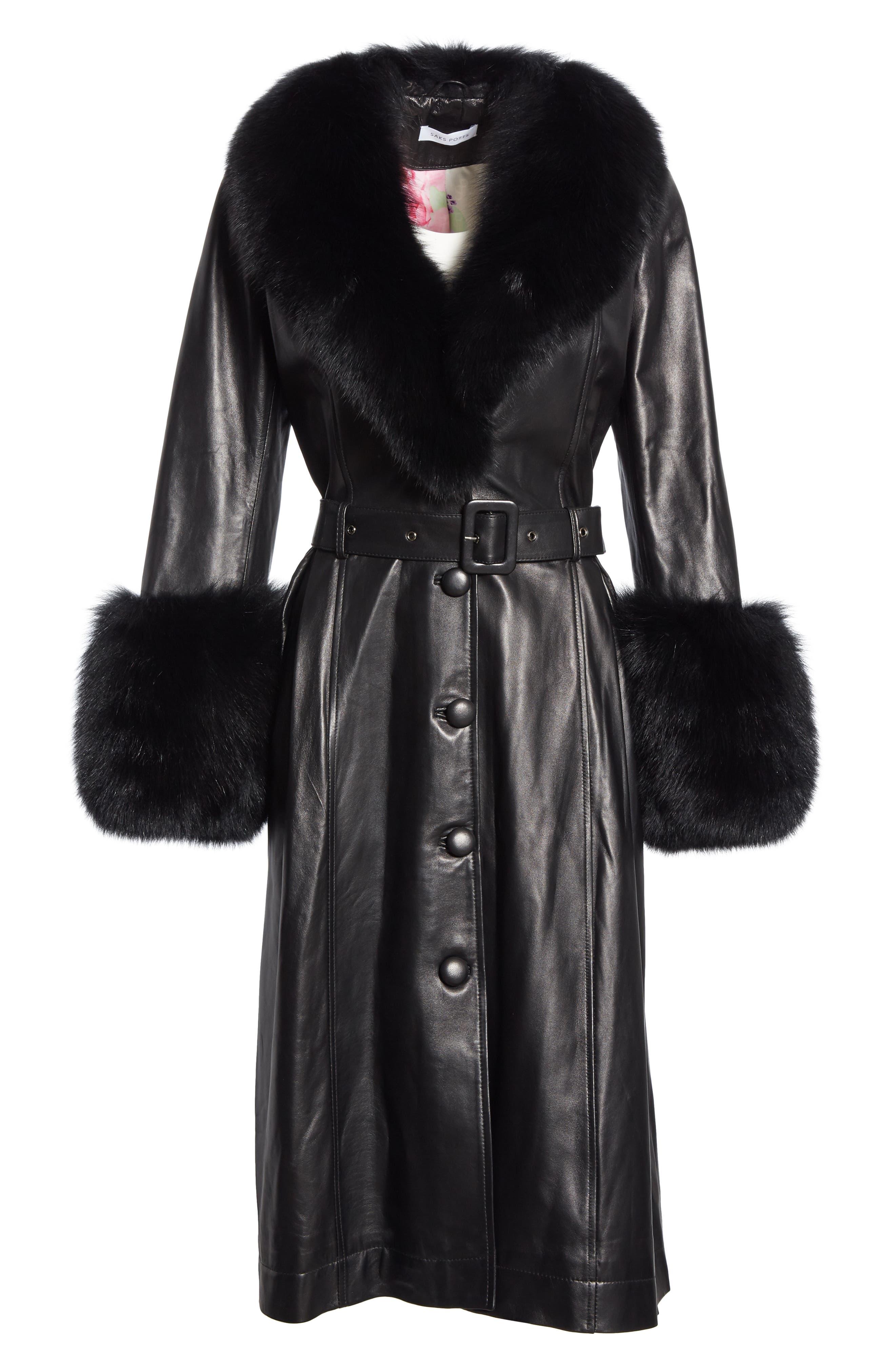 SAKS POTTS,                             Foxy Leather Coat with Genuine Fox Fur Trim,                             Alternate thumbnail 6, color,                             BLACK