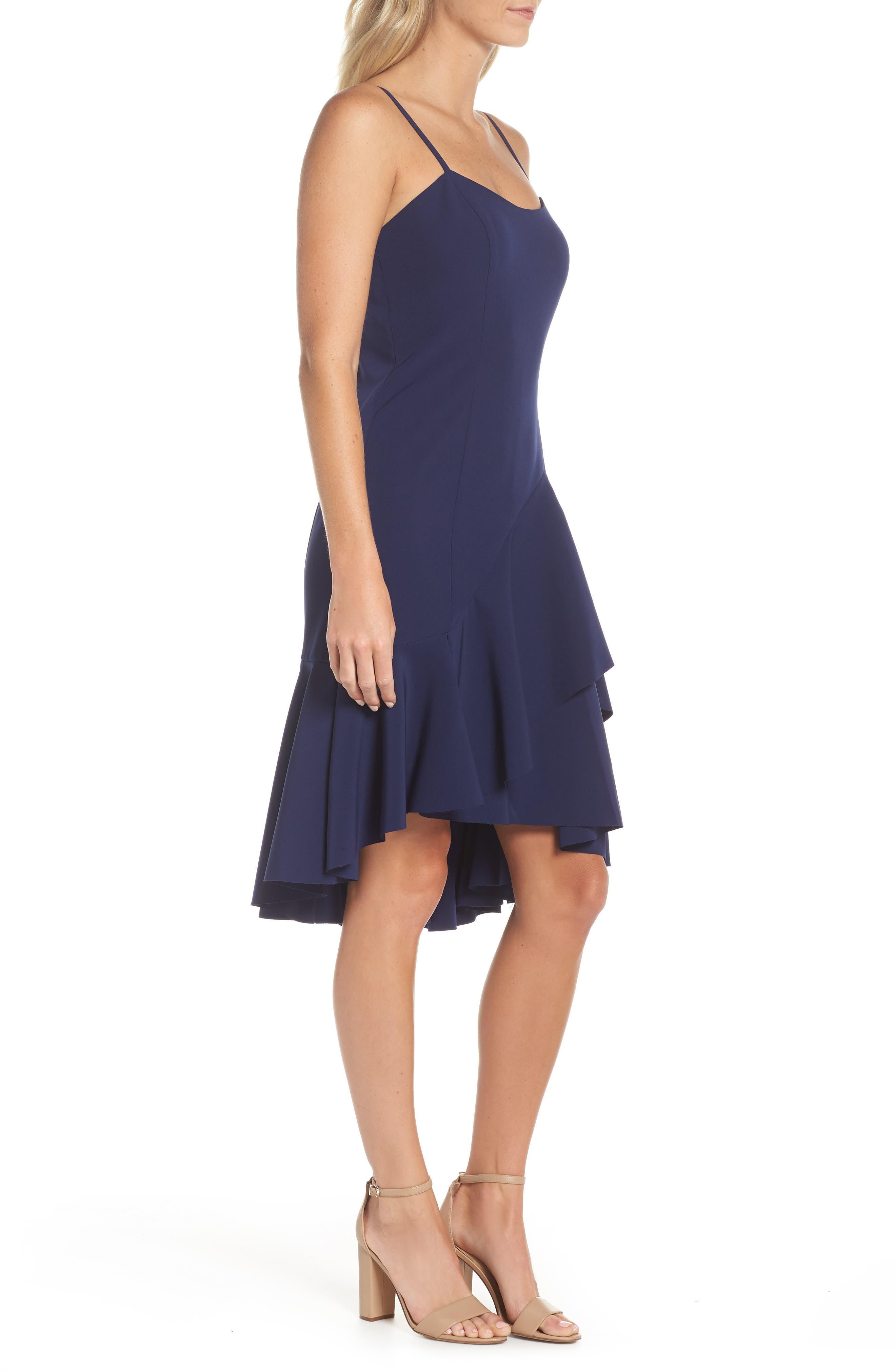 High/Low Ruffle Hem Dress,                             Alternate thumbnail 3, color,                             410