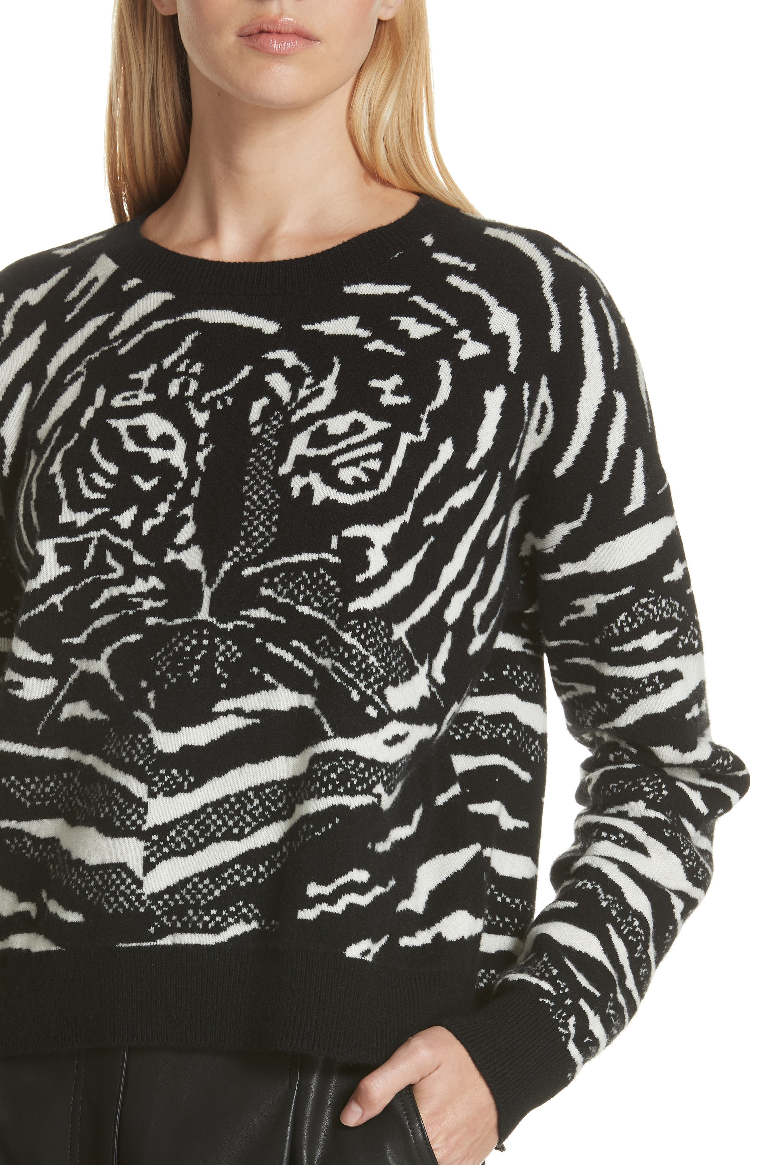 Wool & Cashmere Sweater,                             Alternate thumbnail 4, color,                             BLACK/ WHITE