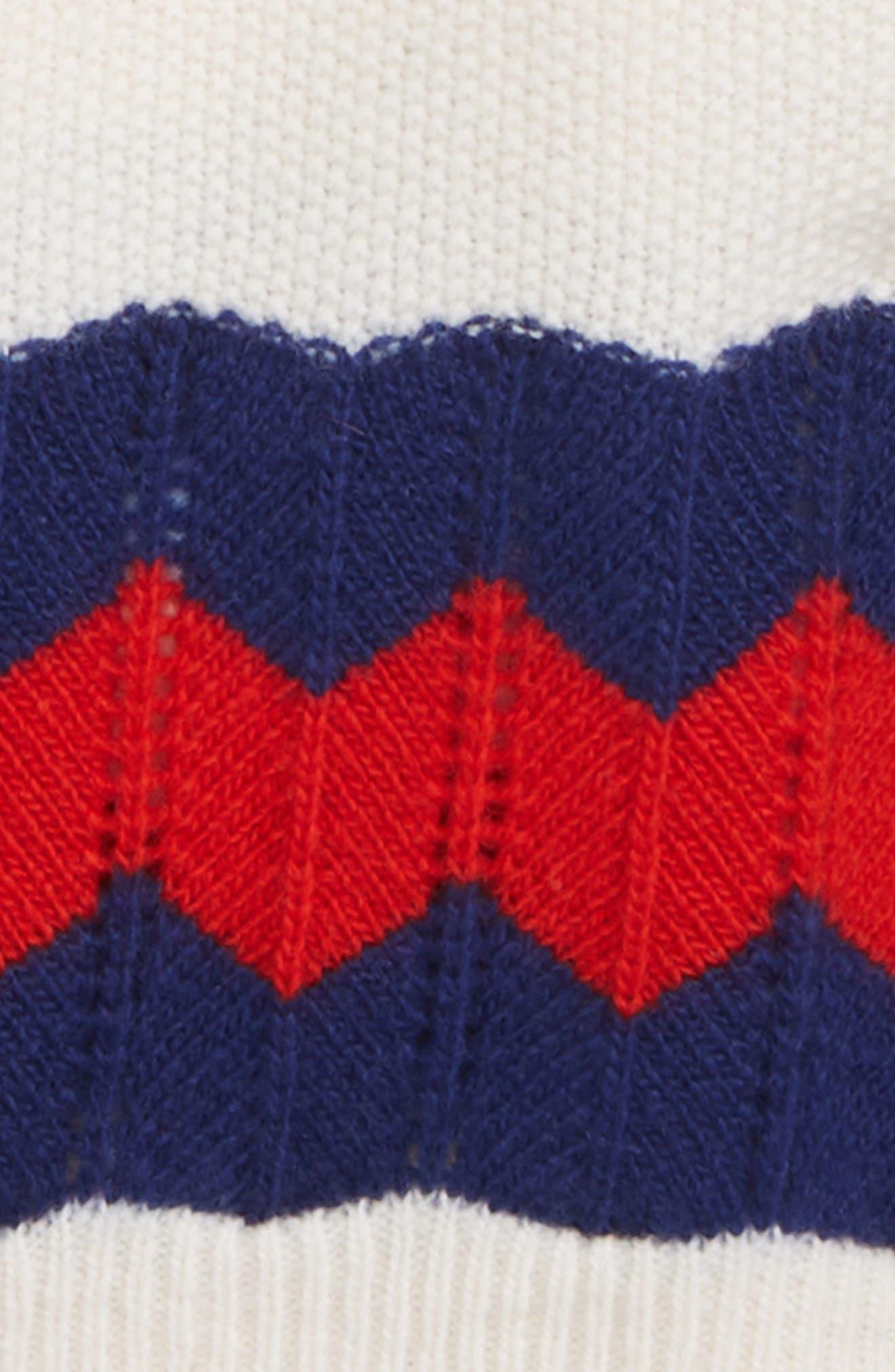 Stripe Wool Cardigan,                             Alternate thumbnail 2, color,                             WHITE/ COBALT/ RED